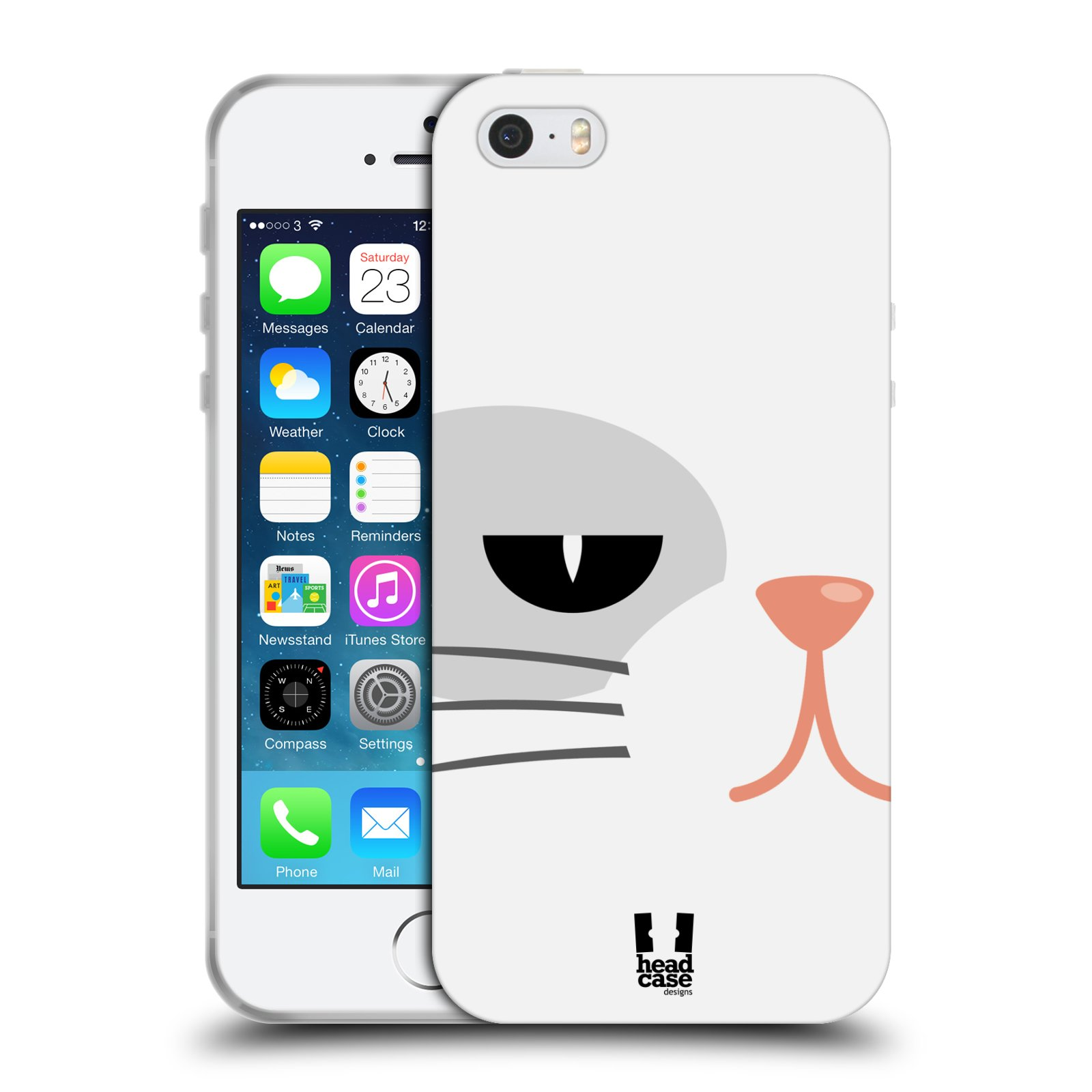 HEAD CASE silikonový obal na mobil Apple Iphone 5/5S vzor Celá tvář zvíře kreslený portrét kočička