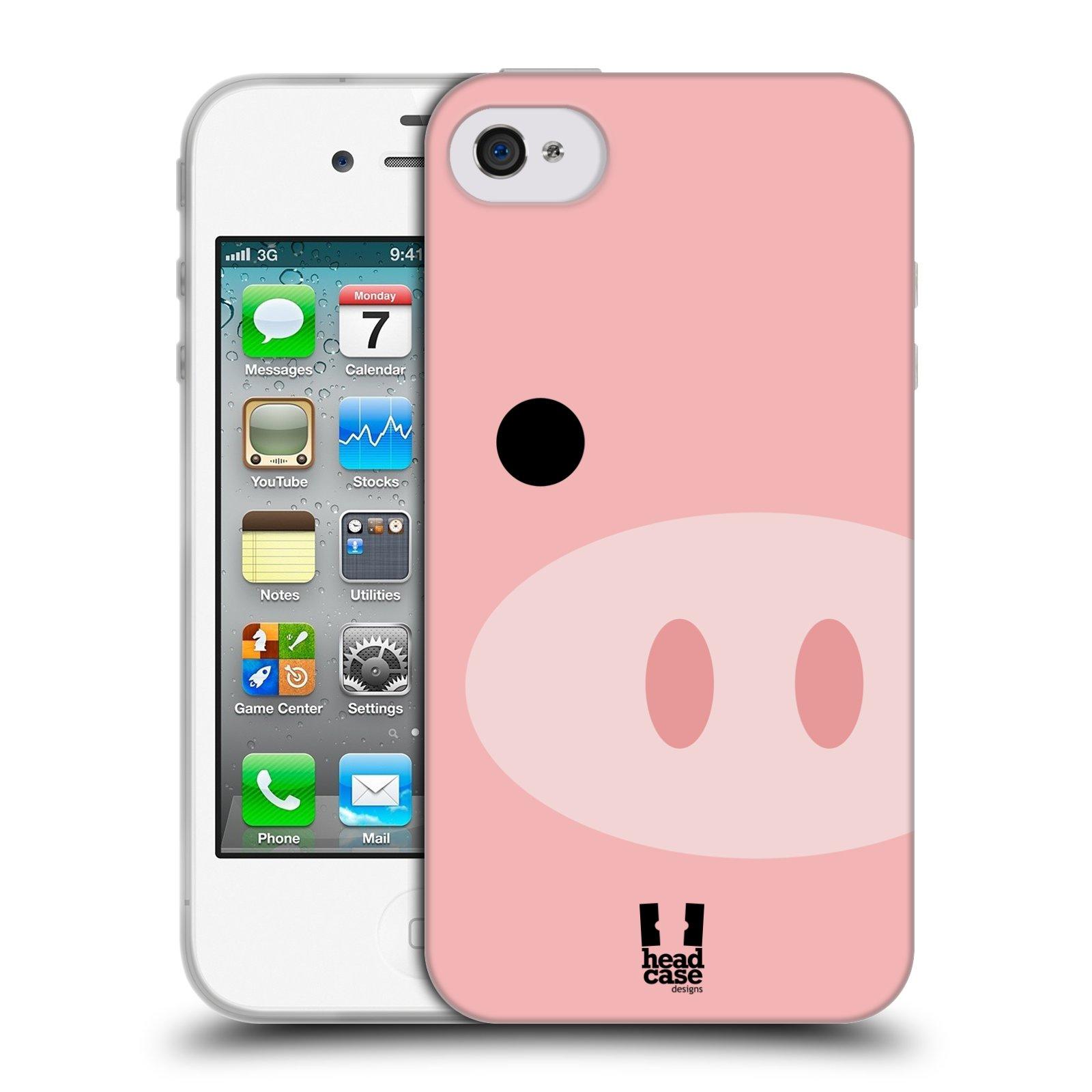 HEAD CASE silikonový obal na mobil Apple Iphone 4/4S vzor Celá tvář zvíře kreslený portrét prasátko
