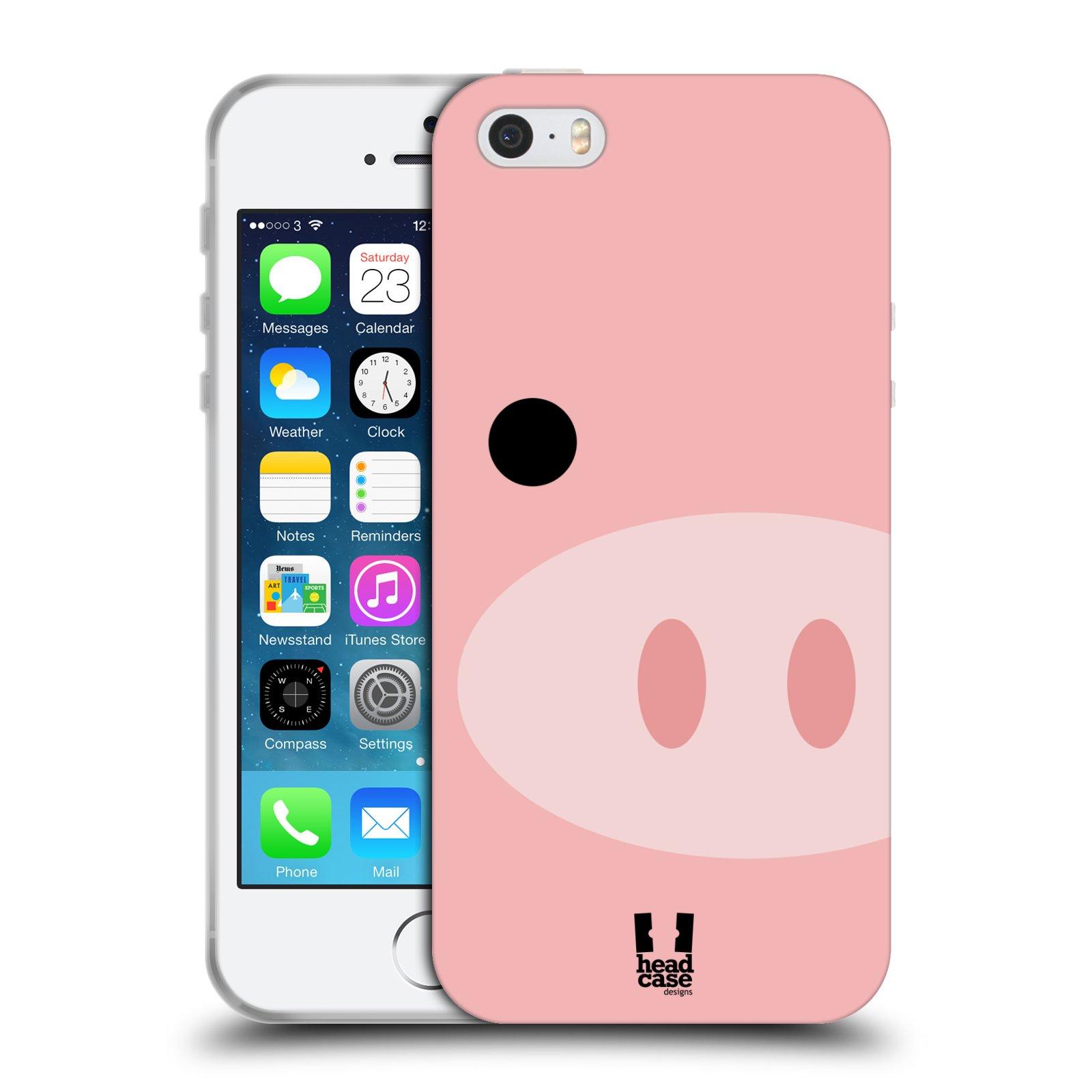 HEAD CASE silikonový obal na mobil Apple Iphone 5/5S vzor Celá tvář zvíře kreslený portrét prasátko