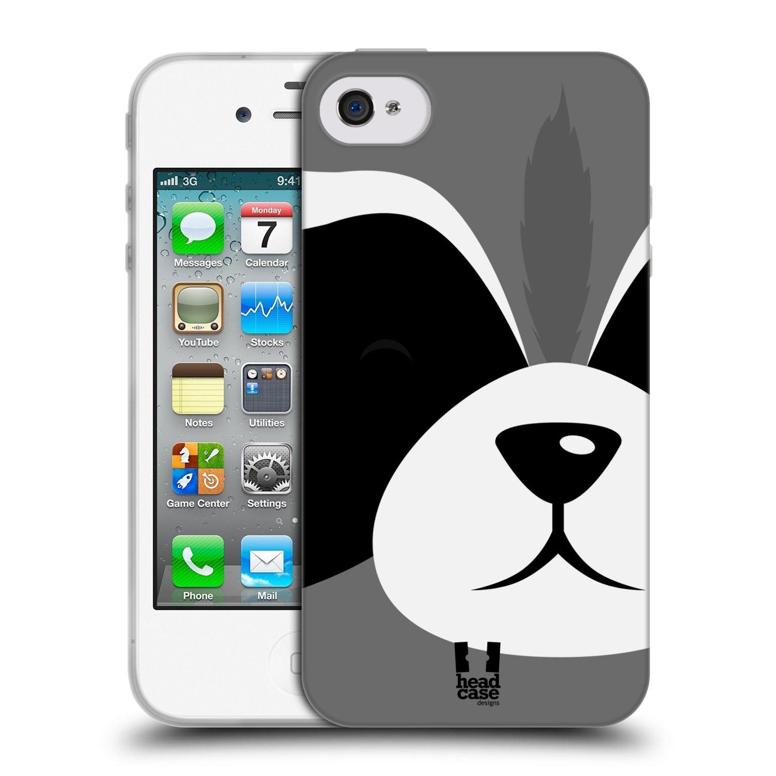 HEAD CASE silikonový obal na mobil Apple Iphone 4/4S vzor Celá tvář zvíře kreslený portrét mýval