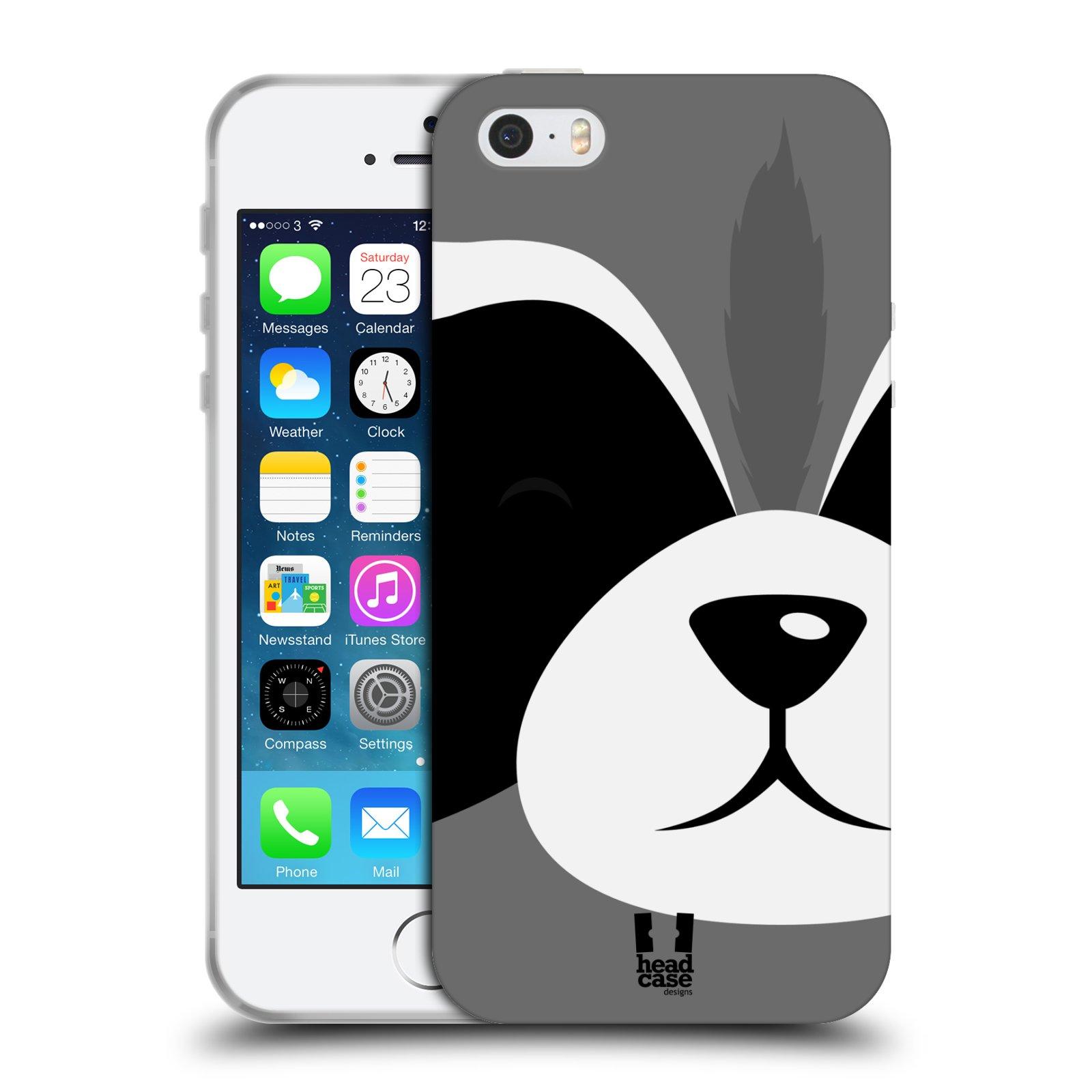 HEAD CASE silikonový obal na mobil Apple Iphone 5/5S vzor Celá tvář zvíře kreslený portrét mýval