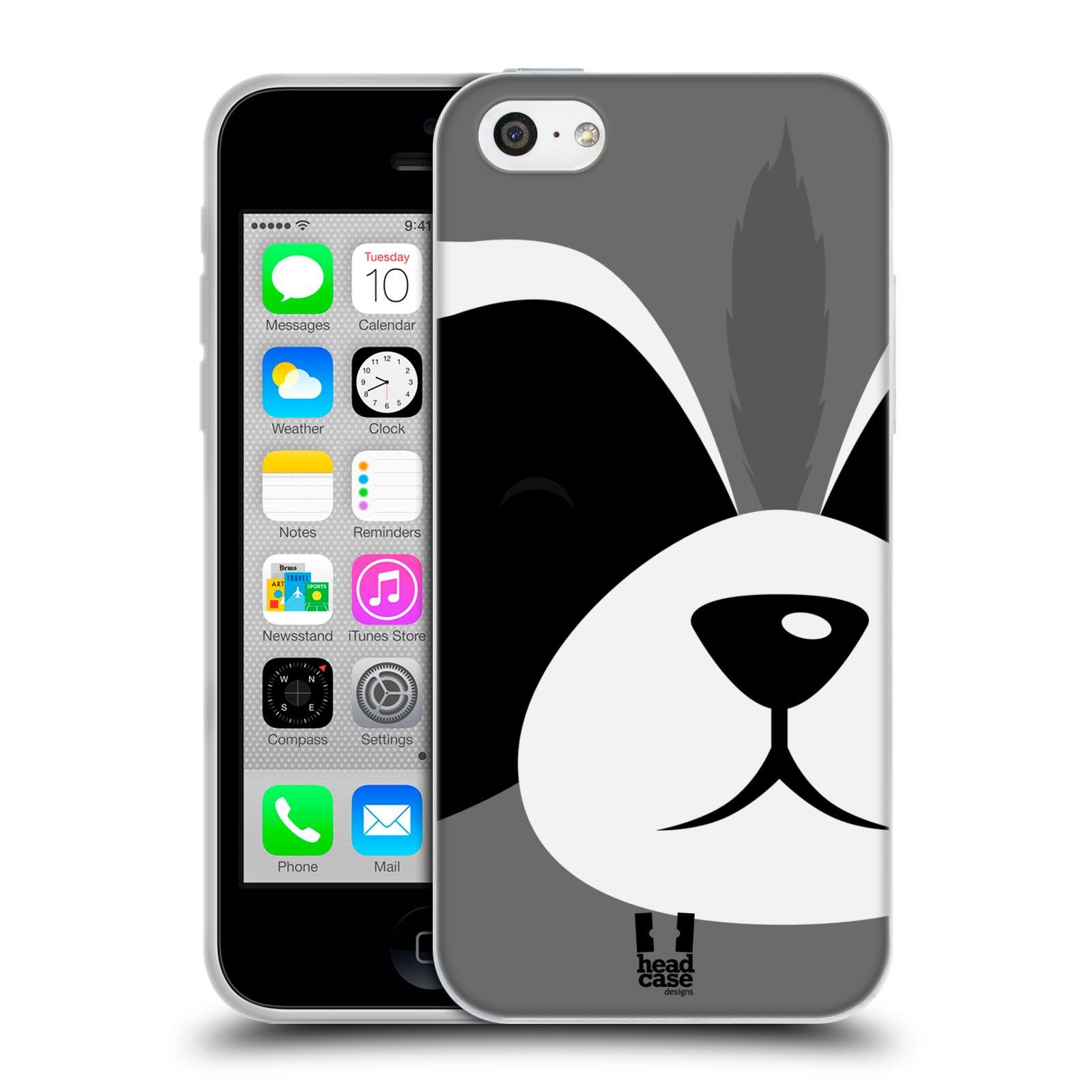 HEAD CASE silikonový obal na mobil Apple Iphone 5C vzor Celá tvář zvíře kreslený portrét mýval