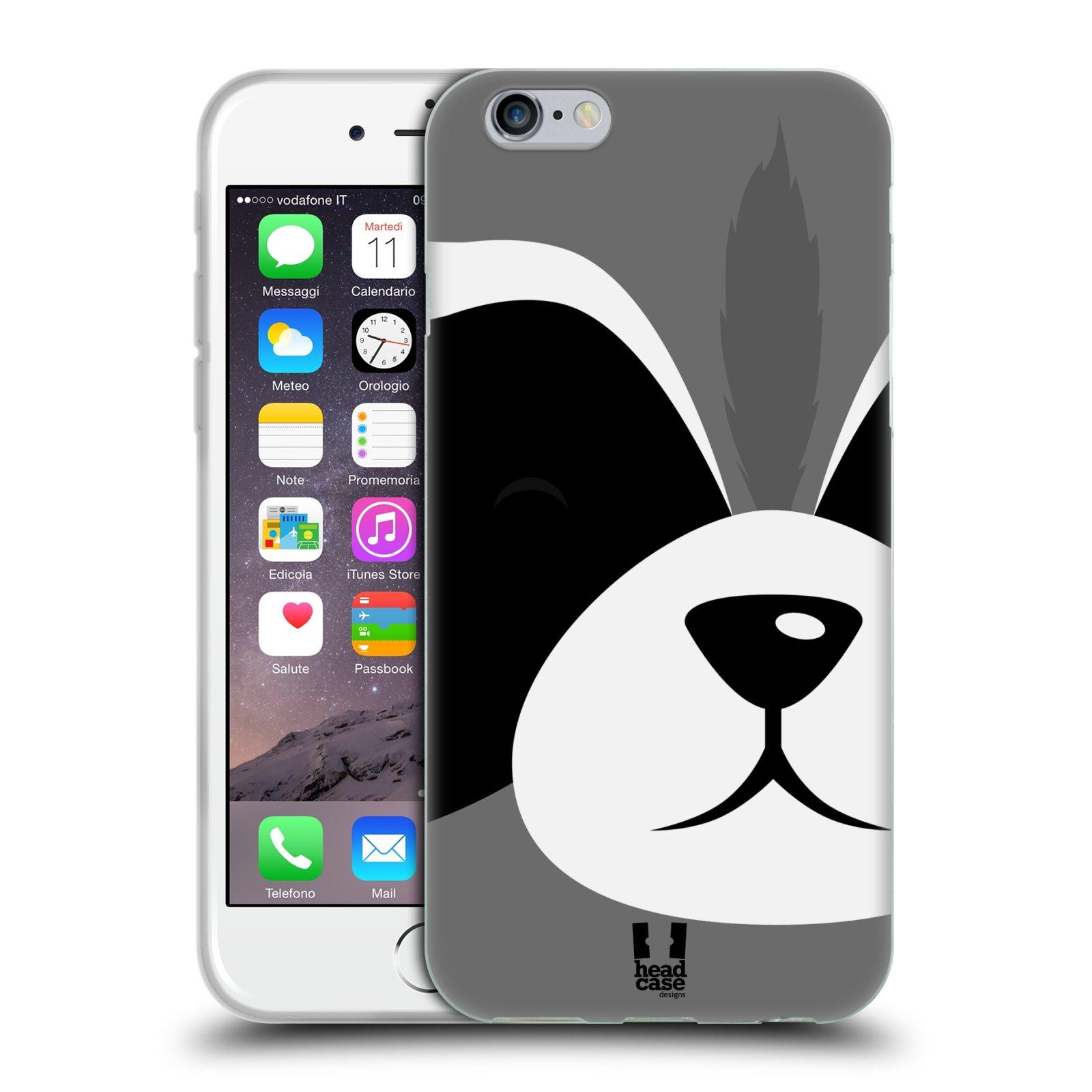 HEAD CASE silikonový obal na mobil Apple Iphone 6/6S vzor Celá tvář zvíře kreslený portrét mýval