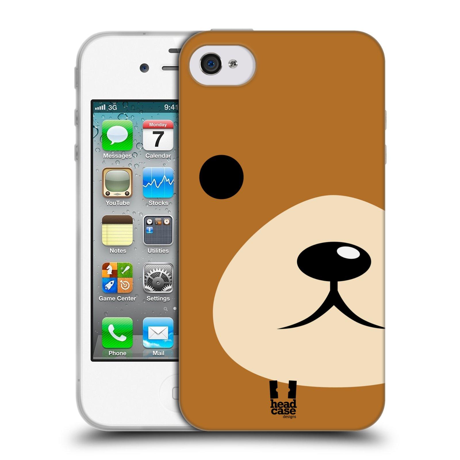 HEAD CASE silikonový obal na mobil Apple Iphone 4/4S vzor Celá tvář zvíře kreslený portrét medvídek