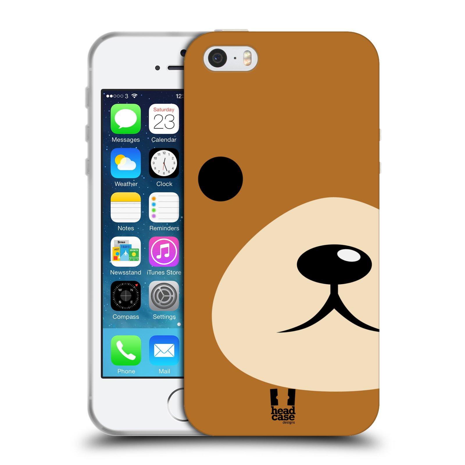 HEAD CASE silikonový obal na mobil Apple Iphone 5/5S vzor Celá tvář zvíře kreslený portrét medvídek