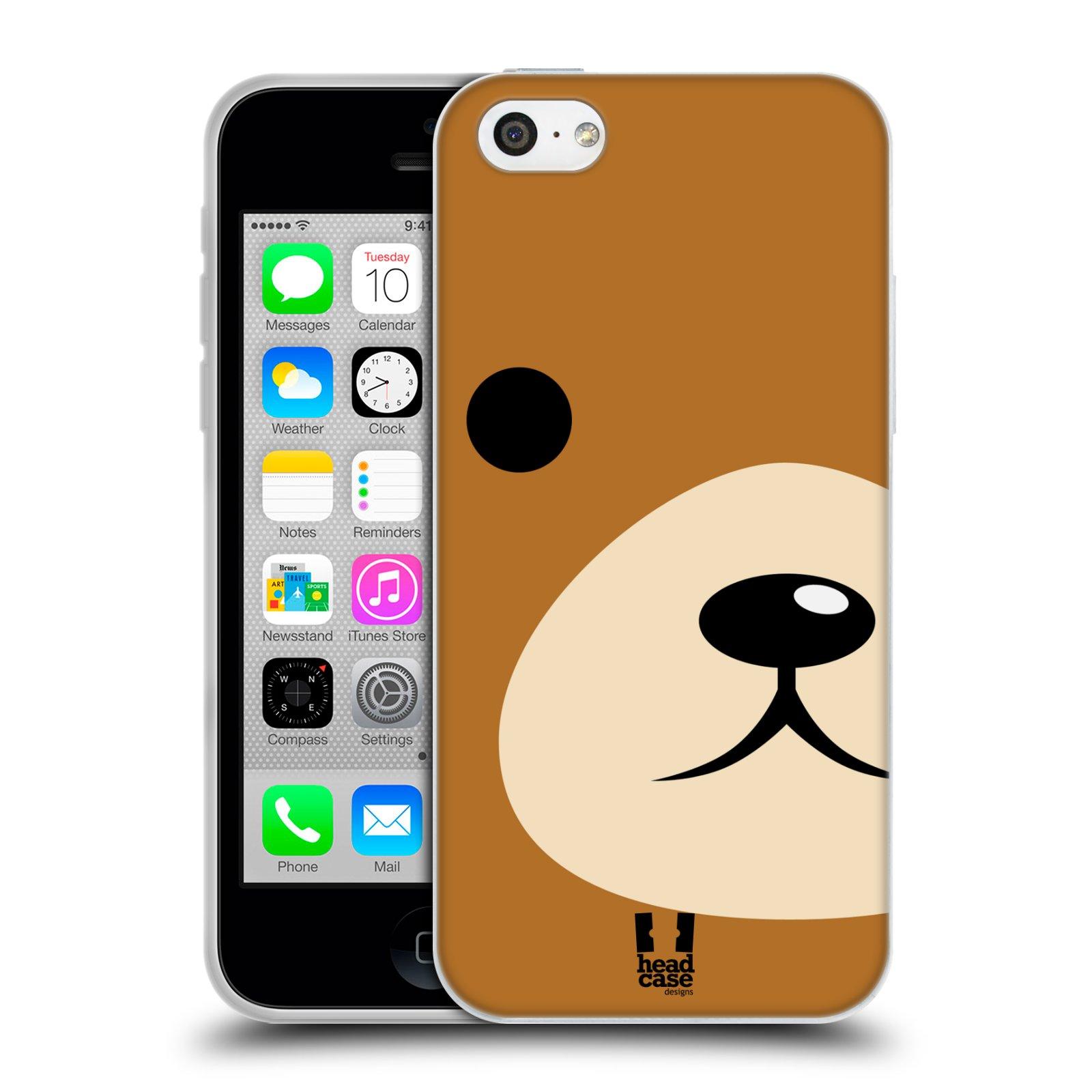 HEAD CASE silikonový obal na mobil Apple Iphone 5C vzor Celá tvář zvíře kreslený portrét medvídek