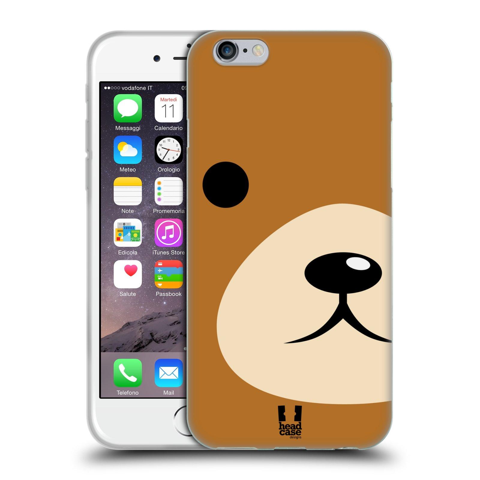 HEAD CASE silikonový obal na mobil Apple Iphone 6/6S vzor Celá tvář zvíře kreslený portrét medvídek