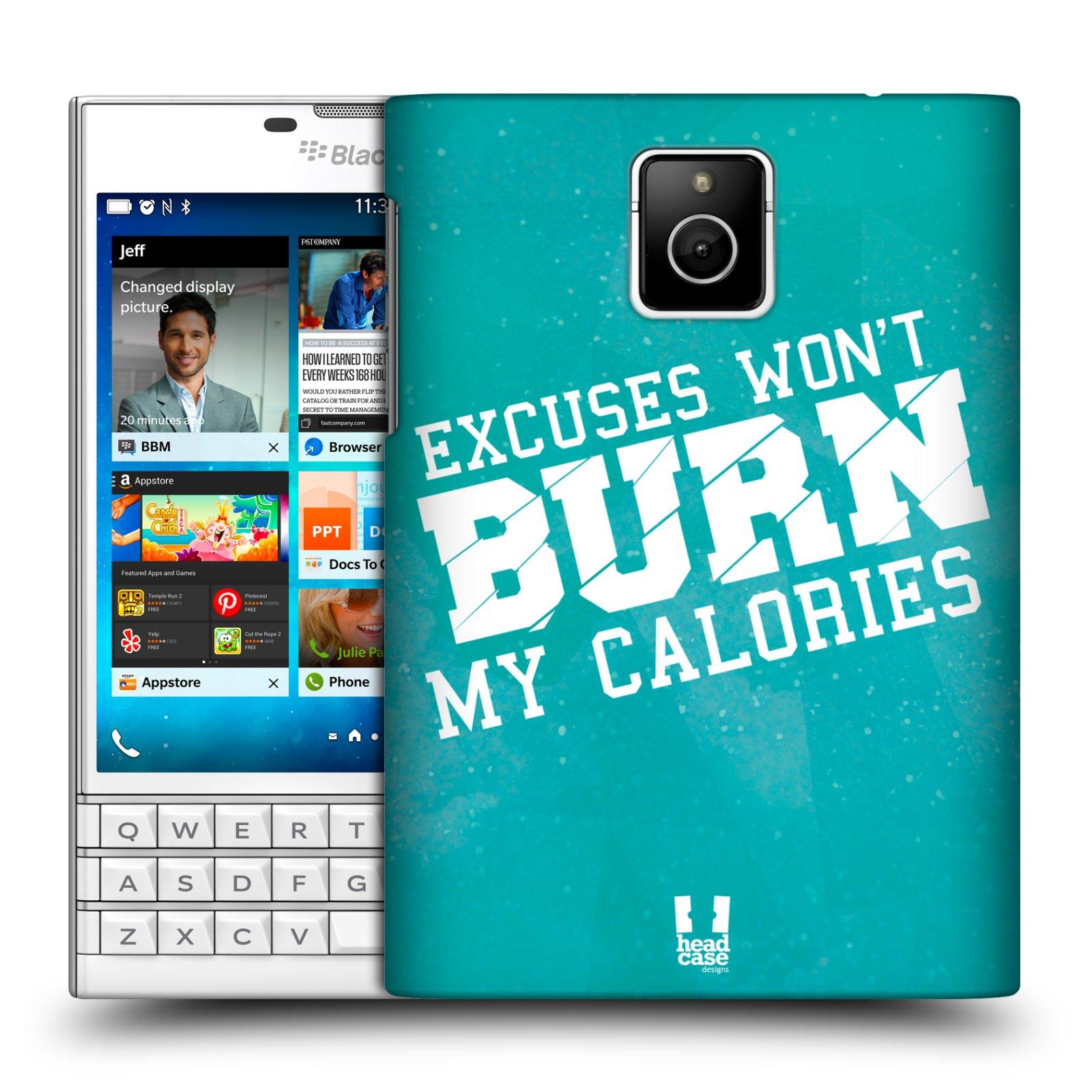 HEAD CASE plastový obal na mobil BlackBerry Passport Sportovní nápisy motivace modrá barva