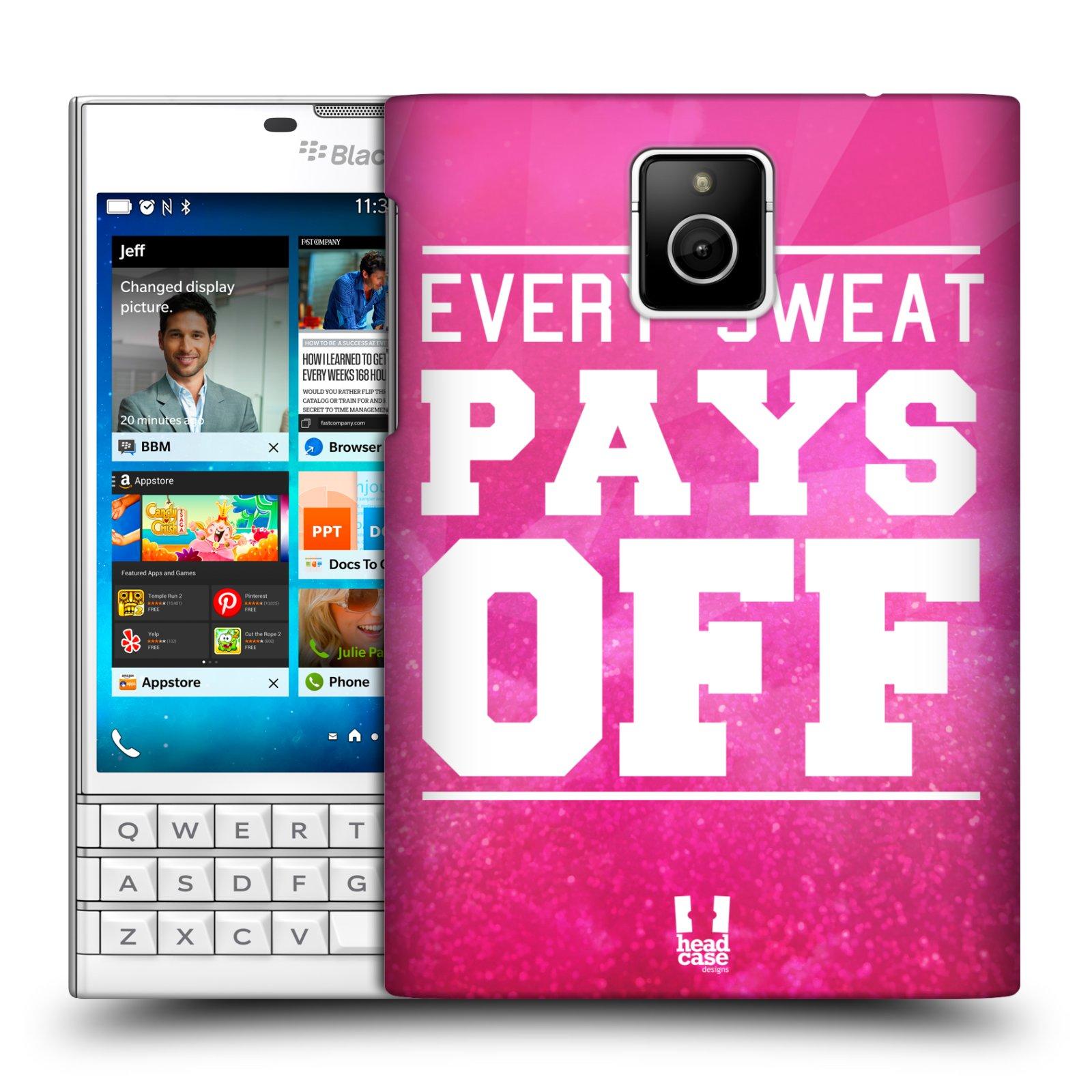 HEAD CASE plastový obal na mobil BlackBerry Passport Sportovní nápisy růžová barva POT a DŘINA