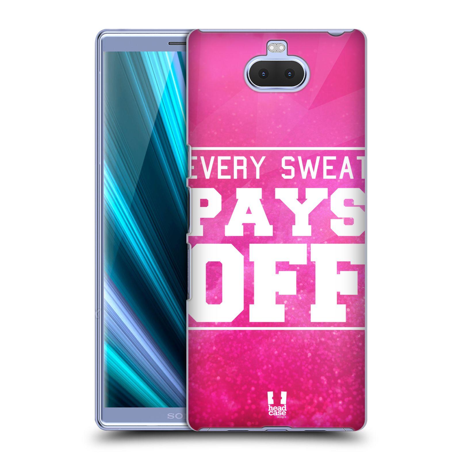 Pouzdro na mobil Sony Xperia 10 Plus - Head Case - Sportovní nápisy růžová barva POT a DŘINA