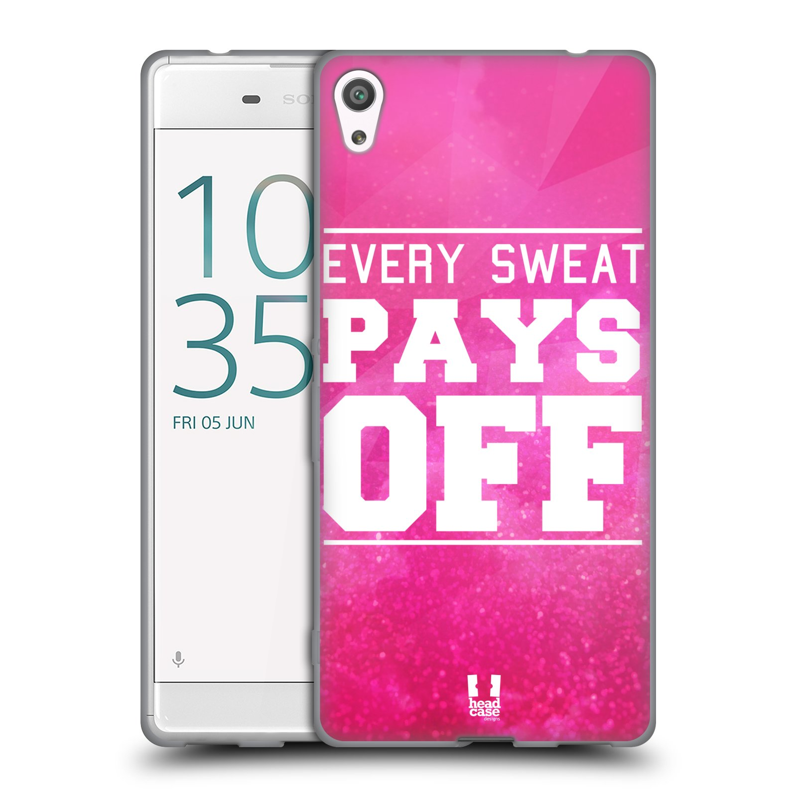 HEAD CASE silikonový obal na mobil Sony Xperia XA ULTRA Sportovní nápisy růžová barva POT a DŘINA