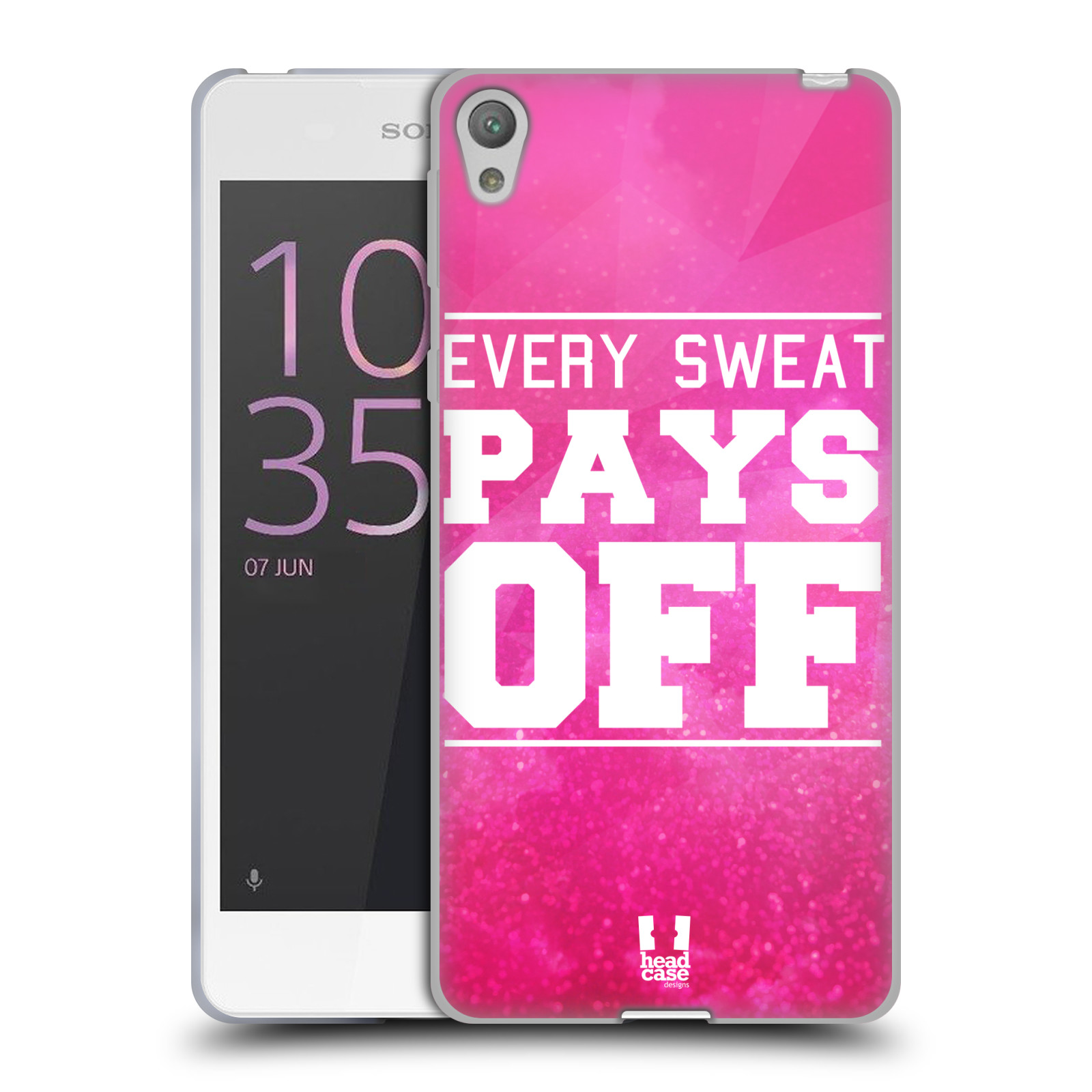 HEAD CASE silikonový obal na mobil Sony Xperia E5 Sportovní nápisy růžová barva POT a DŘINA