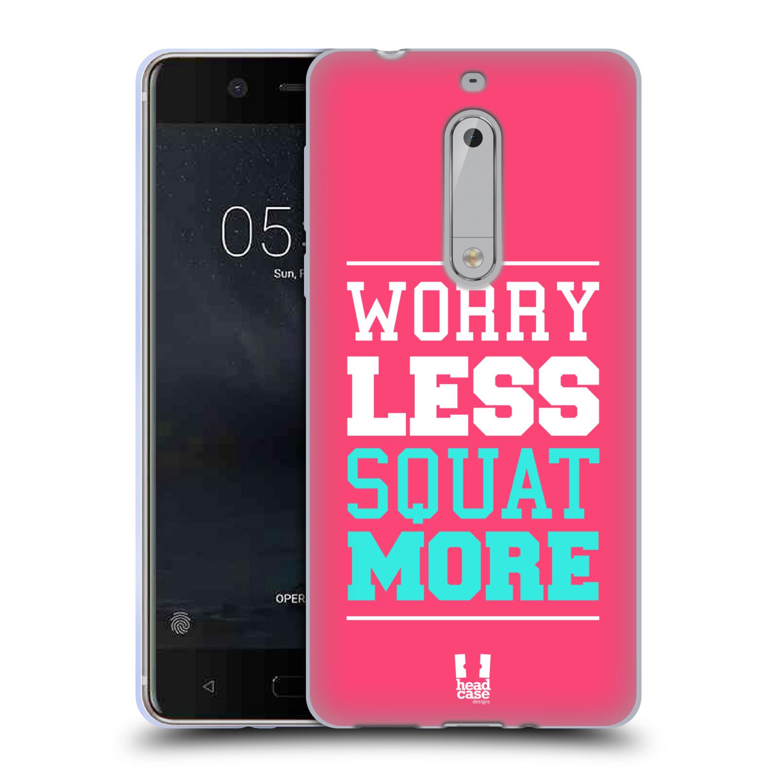 HEAD CASE silikonový obal na mobil Nokia 5 Sportovní nápisy růžová barva DŘEPY