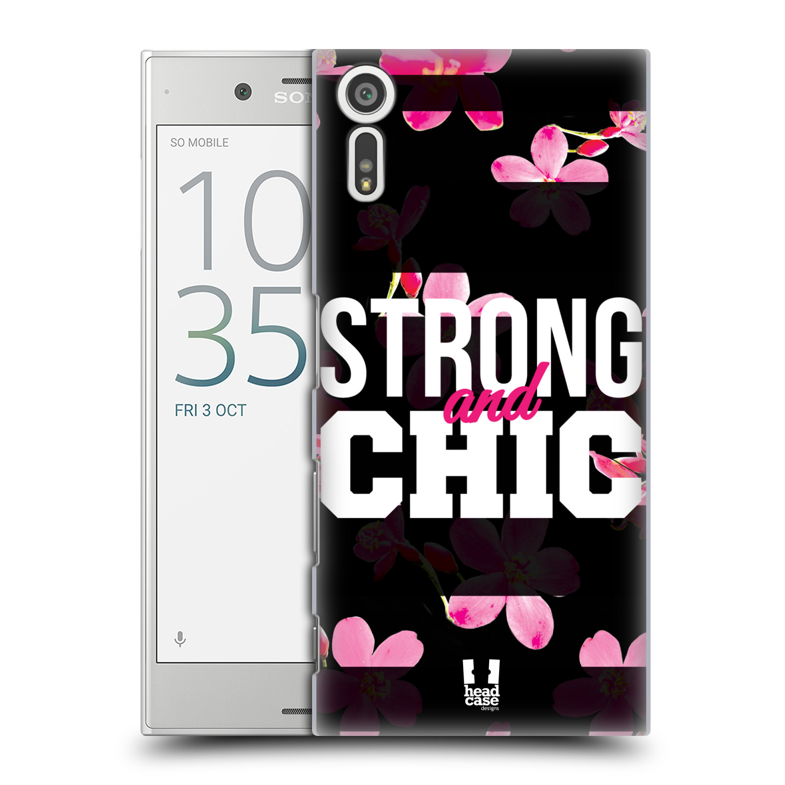 HEAD CASE plastový obal na mobil Sony Xperia XZ Sportovní nápisy STRONG and CHIC