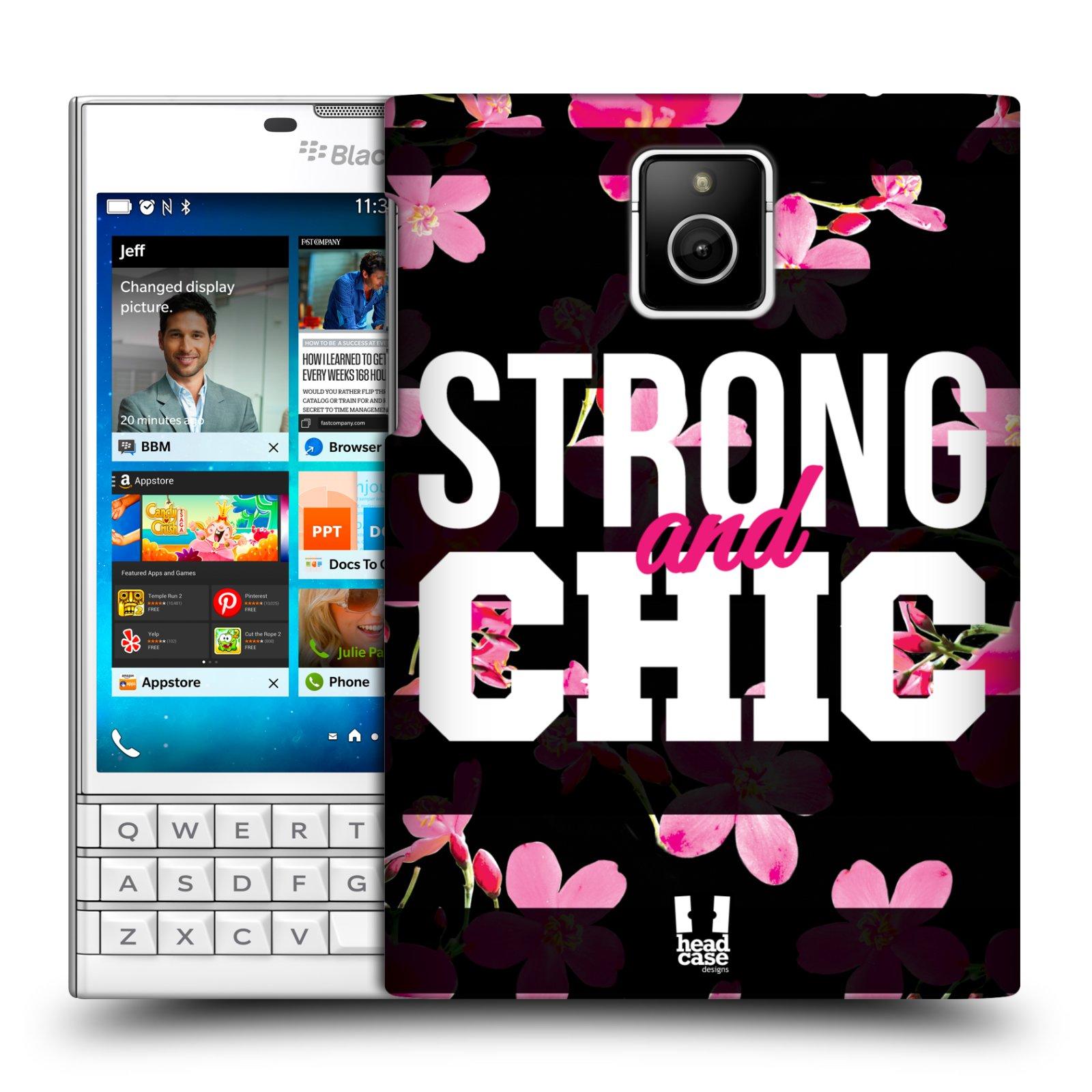 HEAD CASE plastový obal na mobil BlackBerry Passport Sportovní nápisy STRONG and CHIC