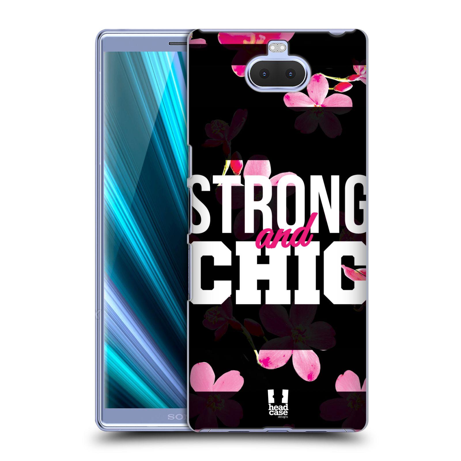 Pouzdro na mobil Sony Xperia 10 - Head Case - Sportovní nápisy STRONG and CHIC