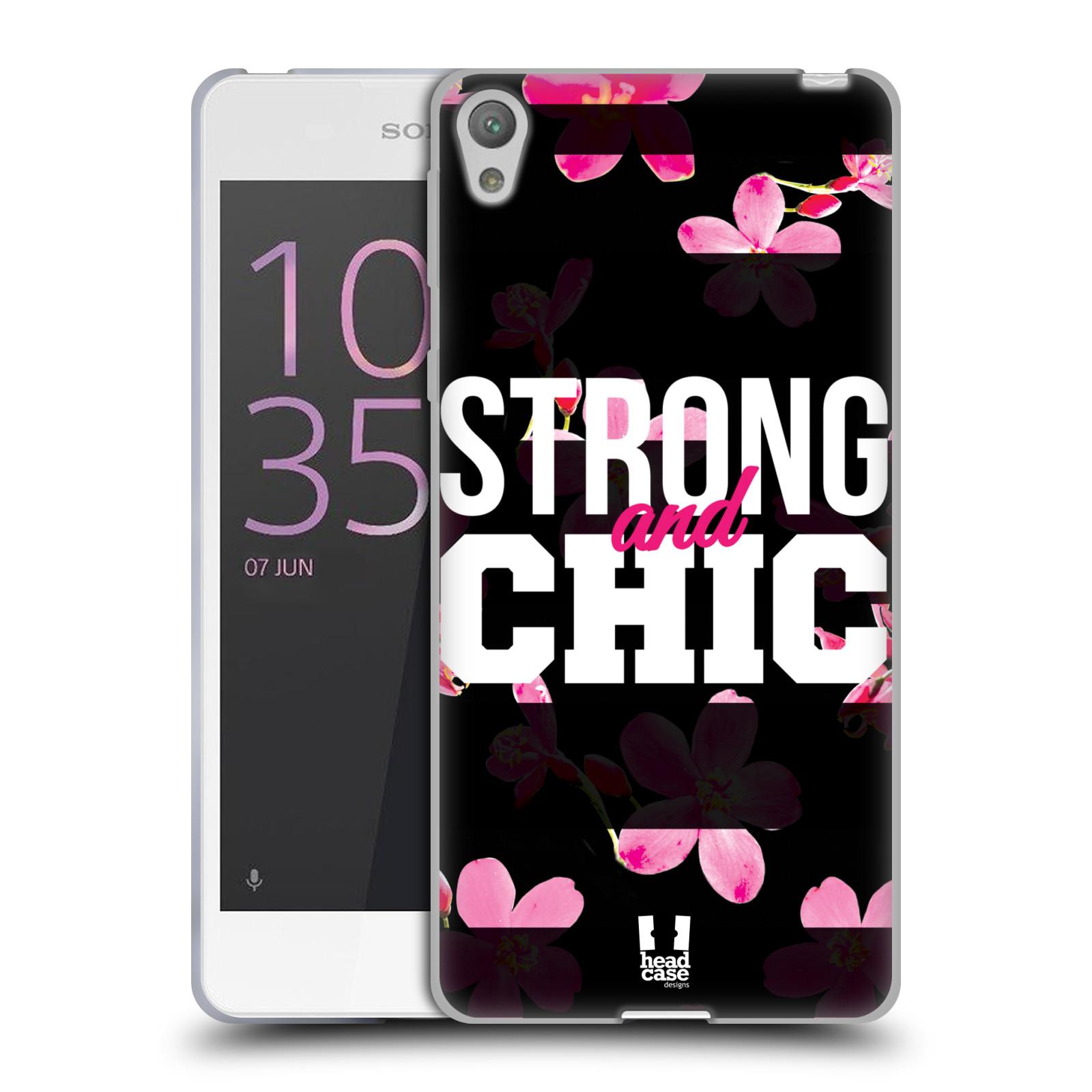 HEAD CASE silikonový obal na mobil Sony Xperia E5 Sportovní nápisy STRONG and CHIC