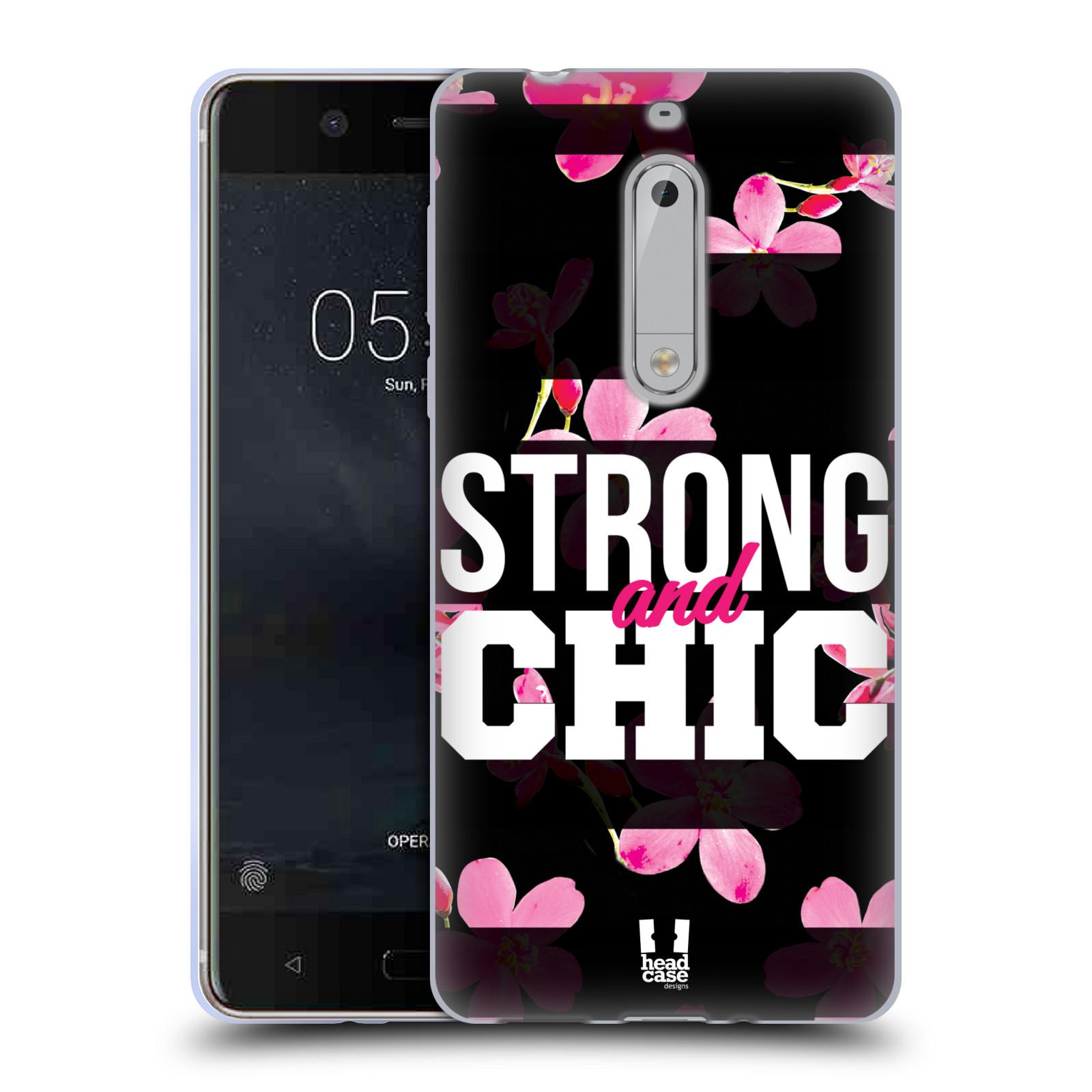 HEAD CASE silikonový obal na mobil Nokia 5 Sportovní nápisy STRONG and CHIC