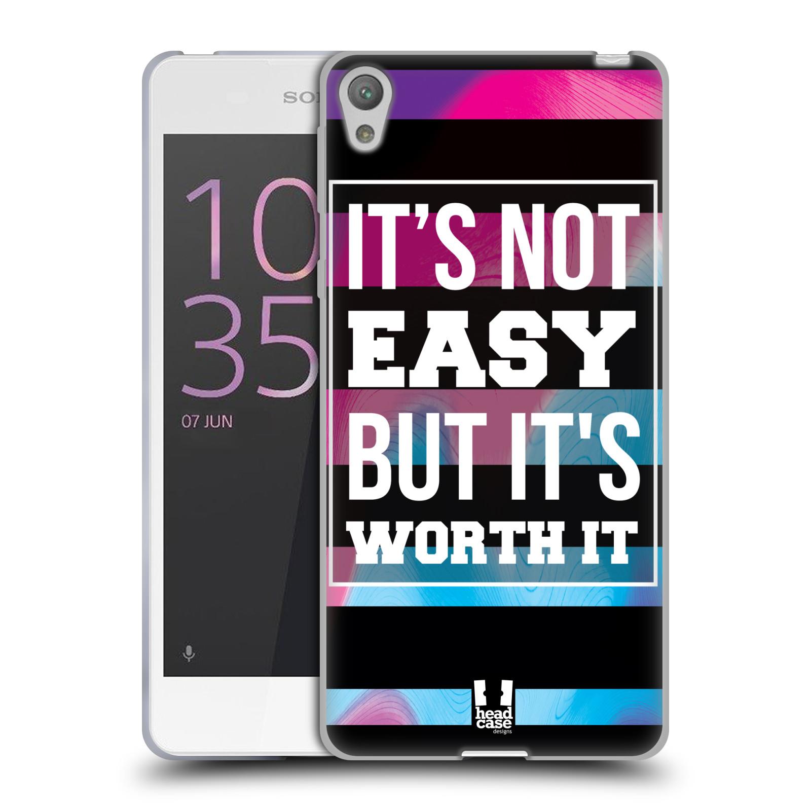 HEAD CASE silikonový obal na mobil Sony Xperia E5 Sportovní nápisy Motivační nadpis BOJ