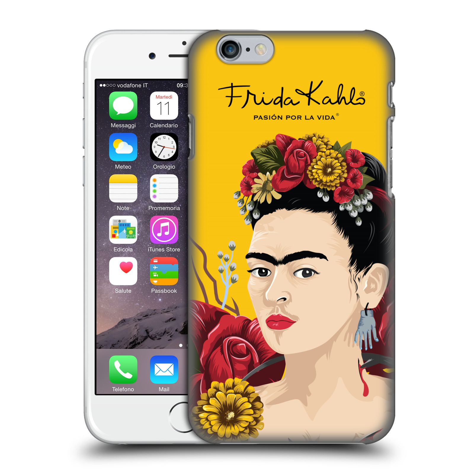 Frida Kahlo Red Florals-Portrait