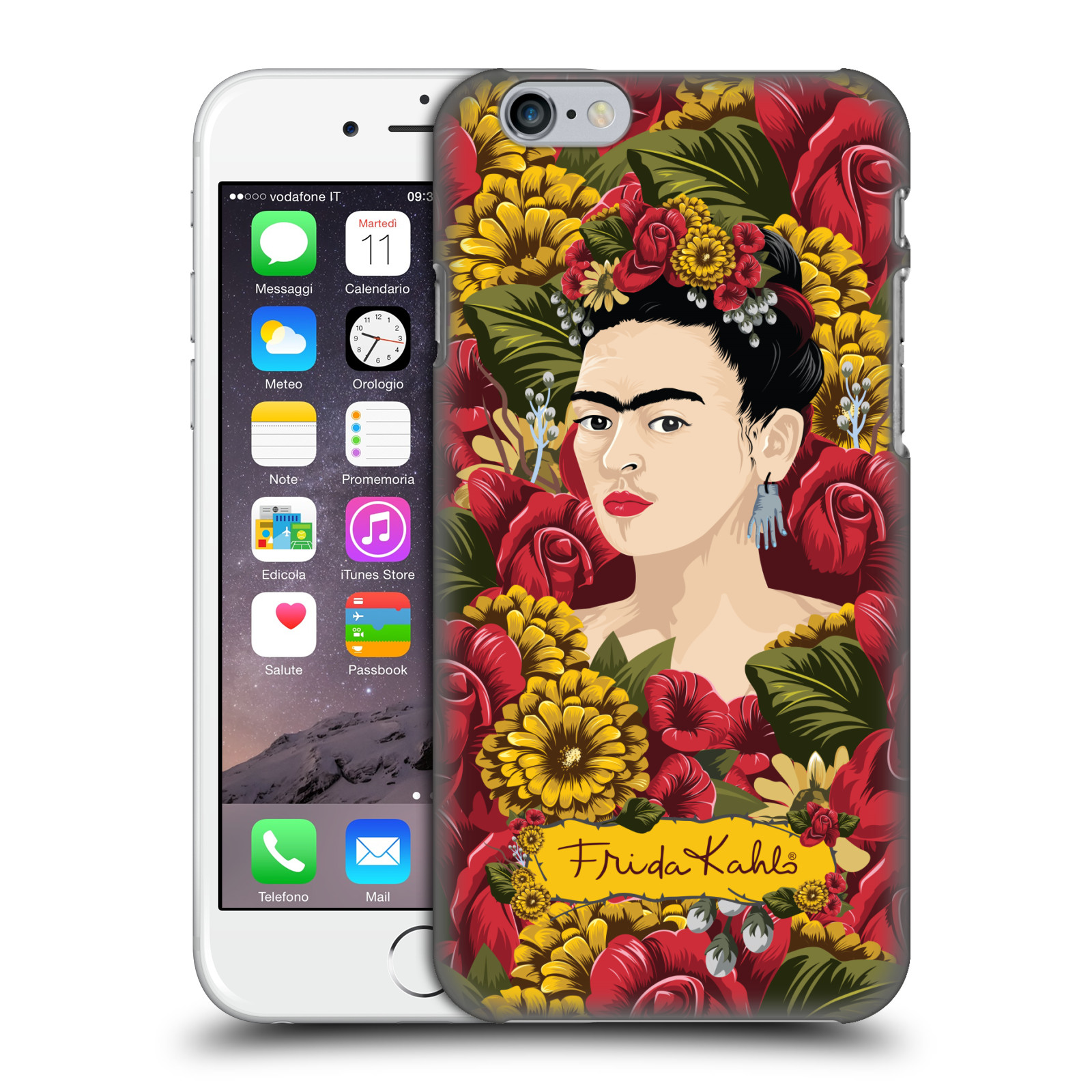 Frida Kahlo Red Florals-Portrait Pattern