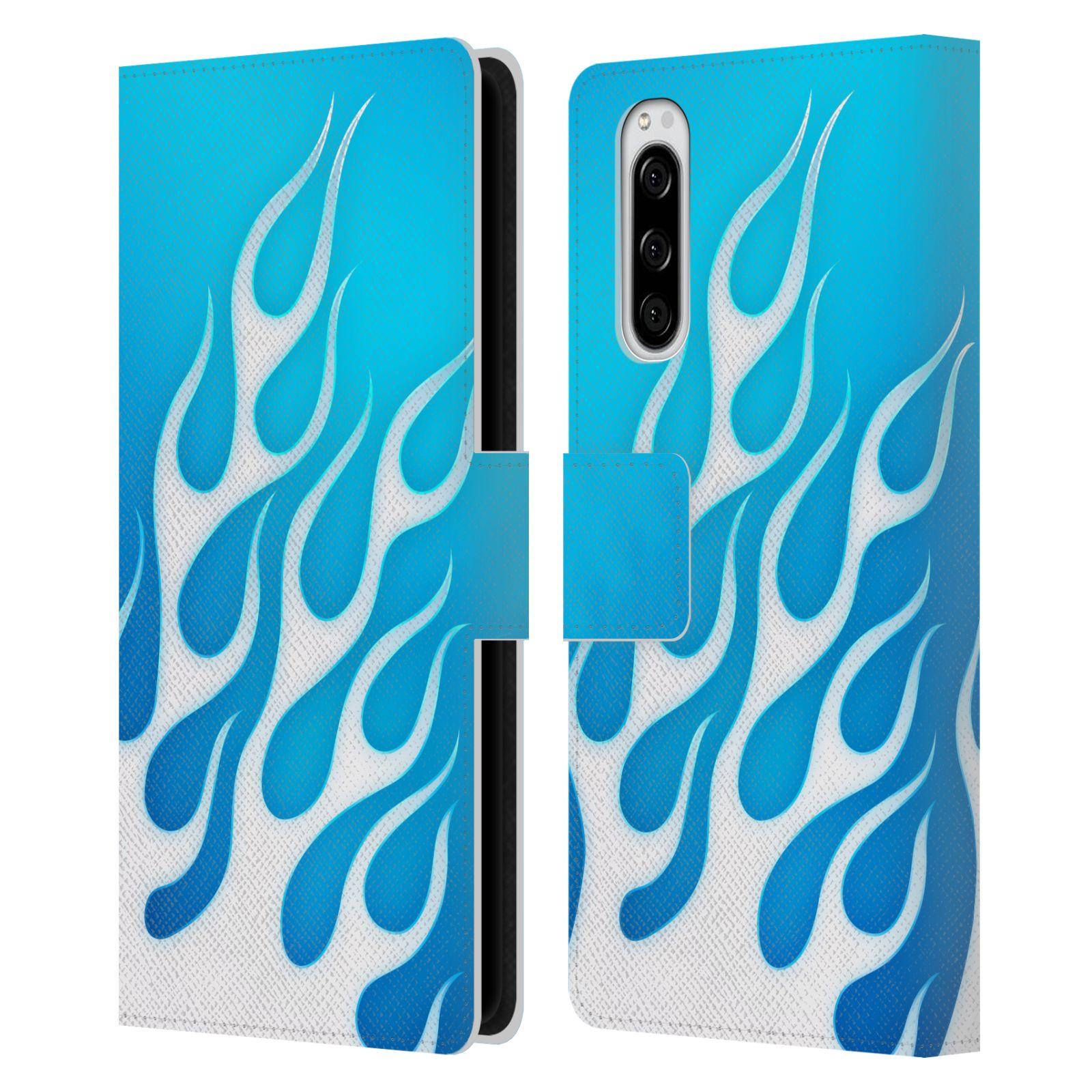 Pouzdro na mobil Sony Xperia 5 barevné ohnivé plameny mrazivě modrá