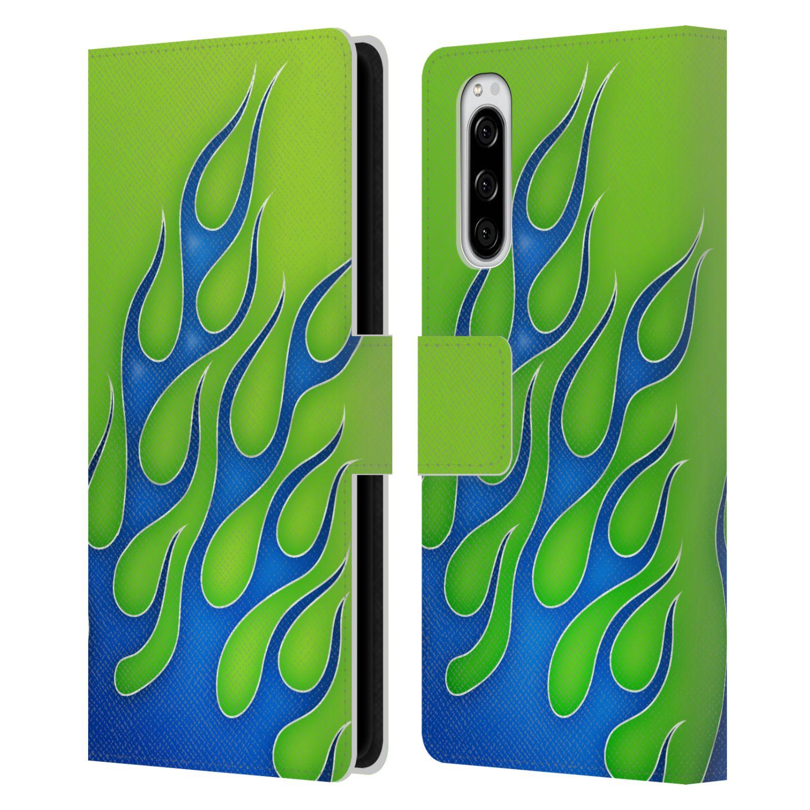 Pouzdro na mobil Sony Xperia 5 barevné ohnivé plameny modrá a zelená