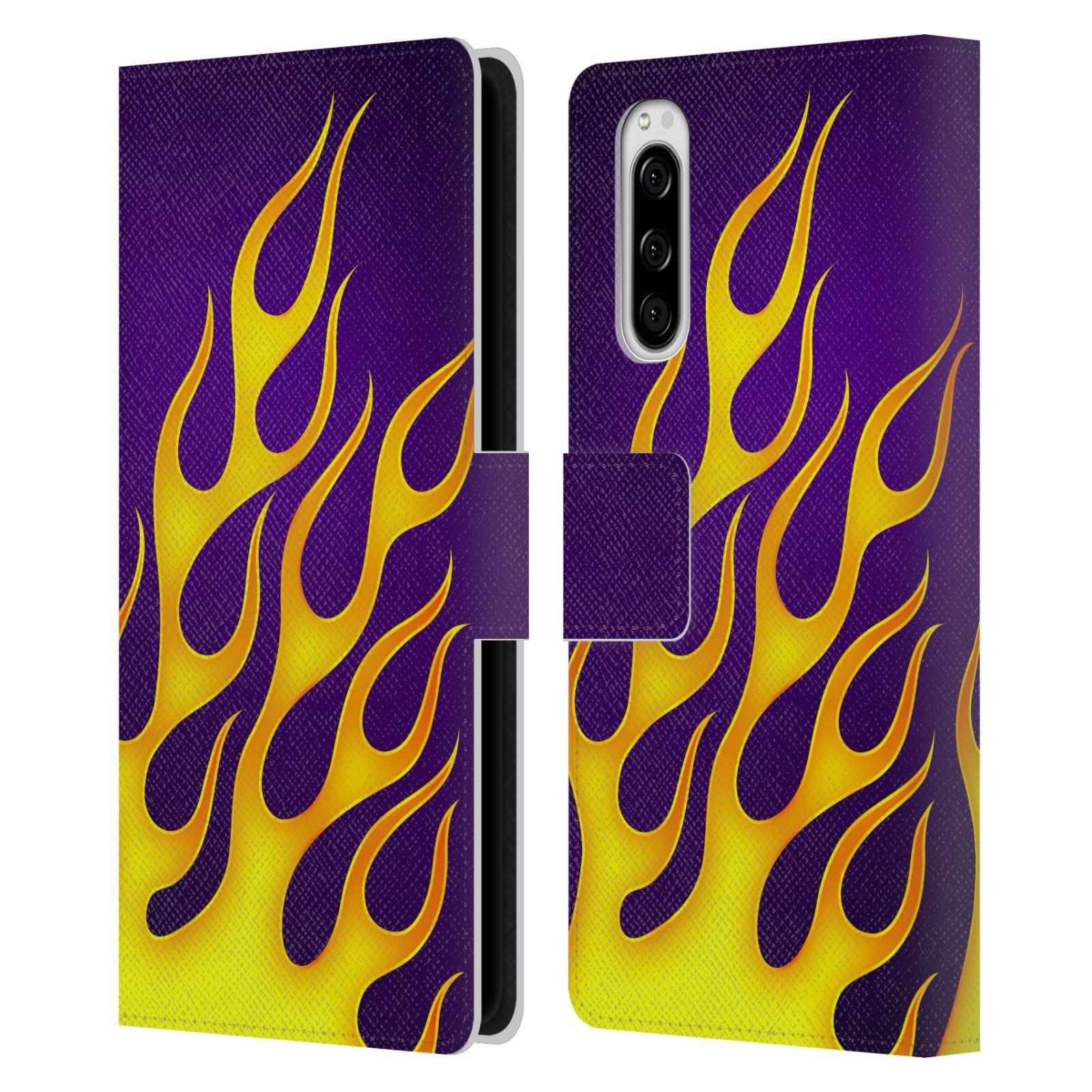 Pouzdro na mobil Sony Xperia 5 barevné ohnivé plameny žlutá  a fialová