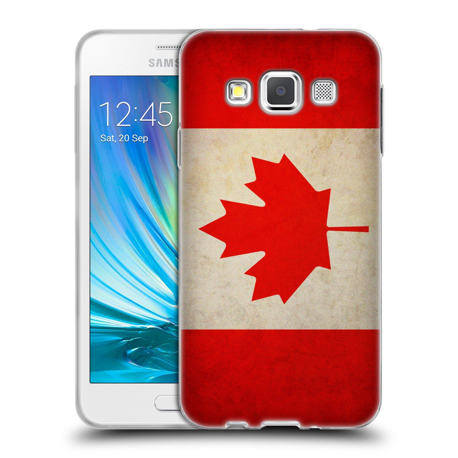 HEAD CASE silikonový obal na mobil Samsung Galaxy A3 vzor VINTAGE VLAJKY KANADA