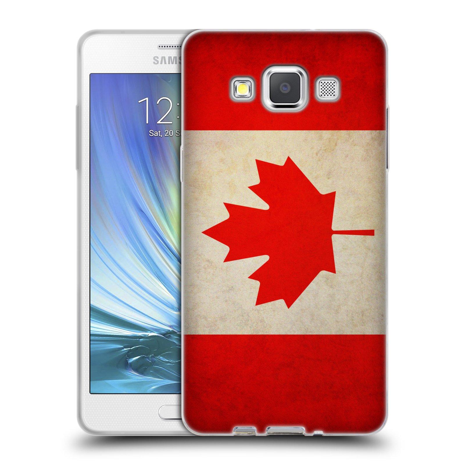 HEAD CASE silikonový obal na mobil Samsung Galaxy A5 vzor VINTAGE VLAJKY KANADA