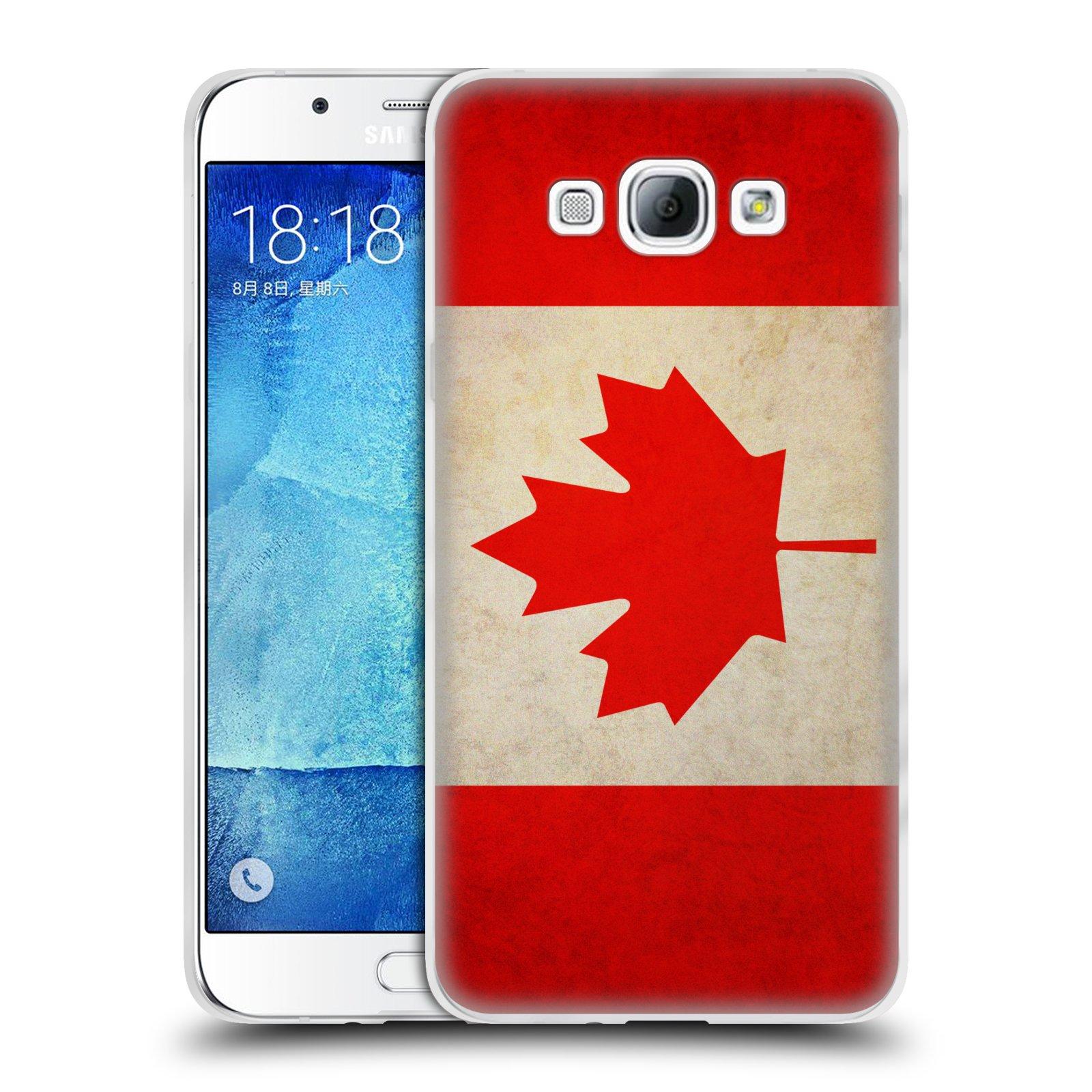HEAD CASE silikonový obal na mobil Samsung Galaxy A8 vzor VINTAGE VLAJKY KANADA