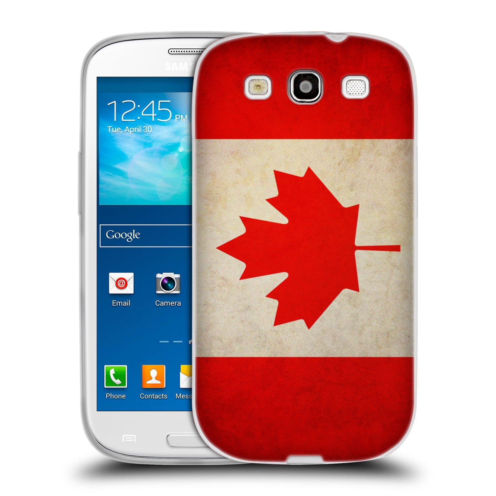 HEAD CASE silikonový obal na mobil Samsung Galaxy S3 i9300 vzor VINTAGE VLAJKY KANADA