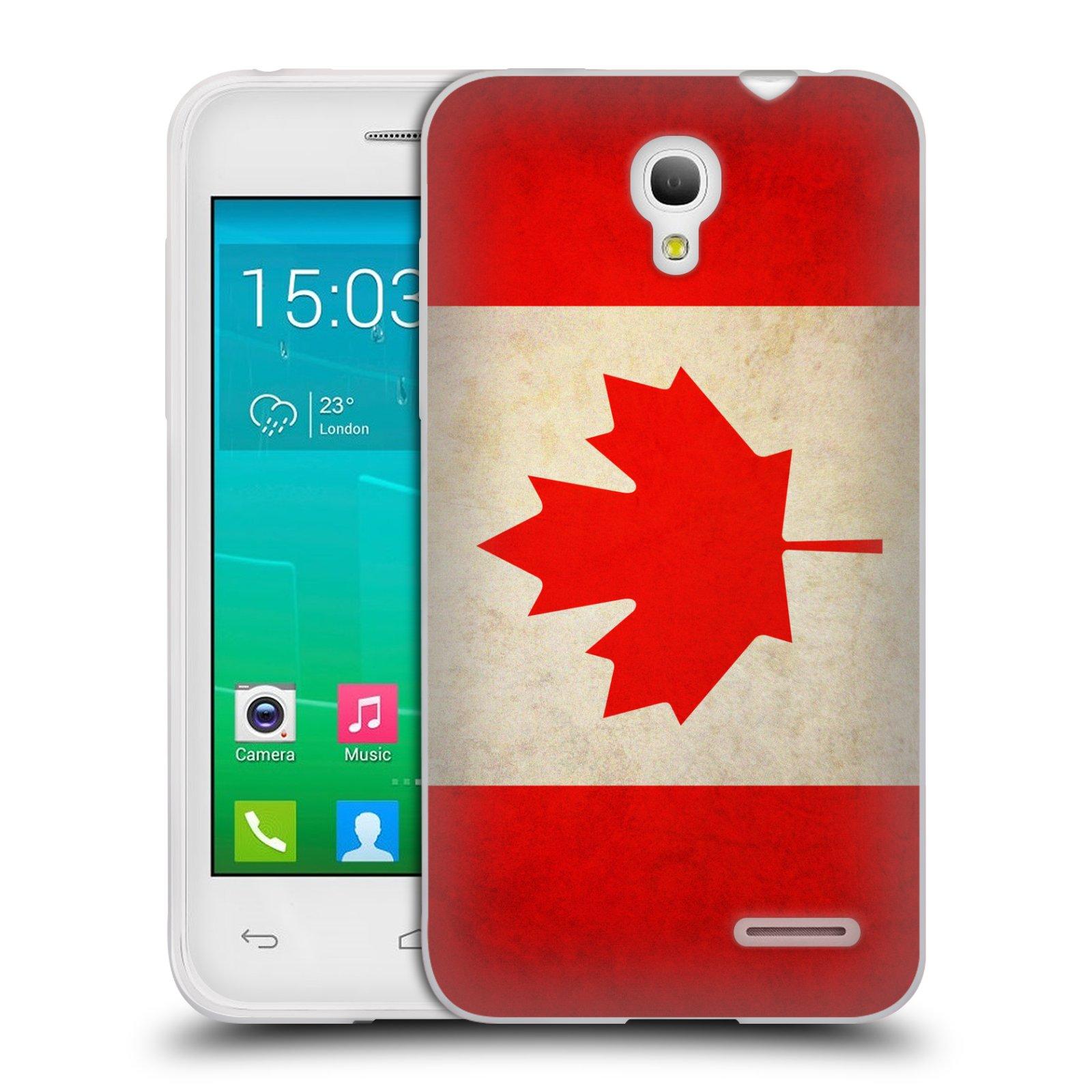 HEAD CASE silikonový obal na mobil Alcatel POP S3 OT-5050Y vzor VINTAGE VLAJKY KANADA