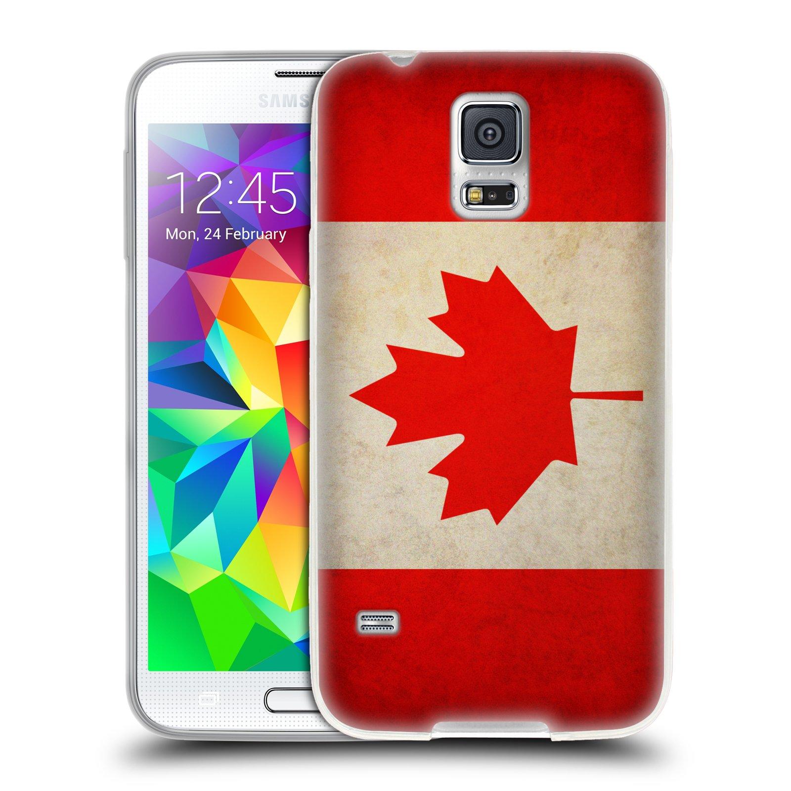 HEAD CASE silikonový obal na mobil Samsung Galaxy S5/S5 NEO vzor VINTAGE VLAJKY KANADA