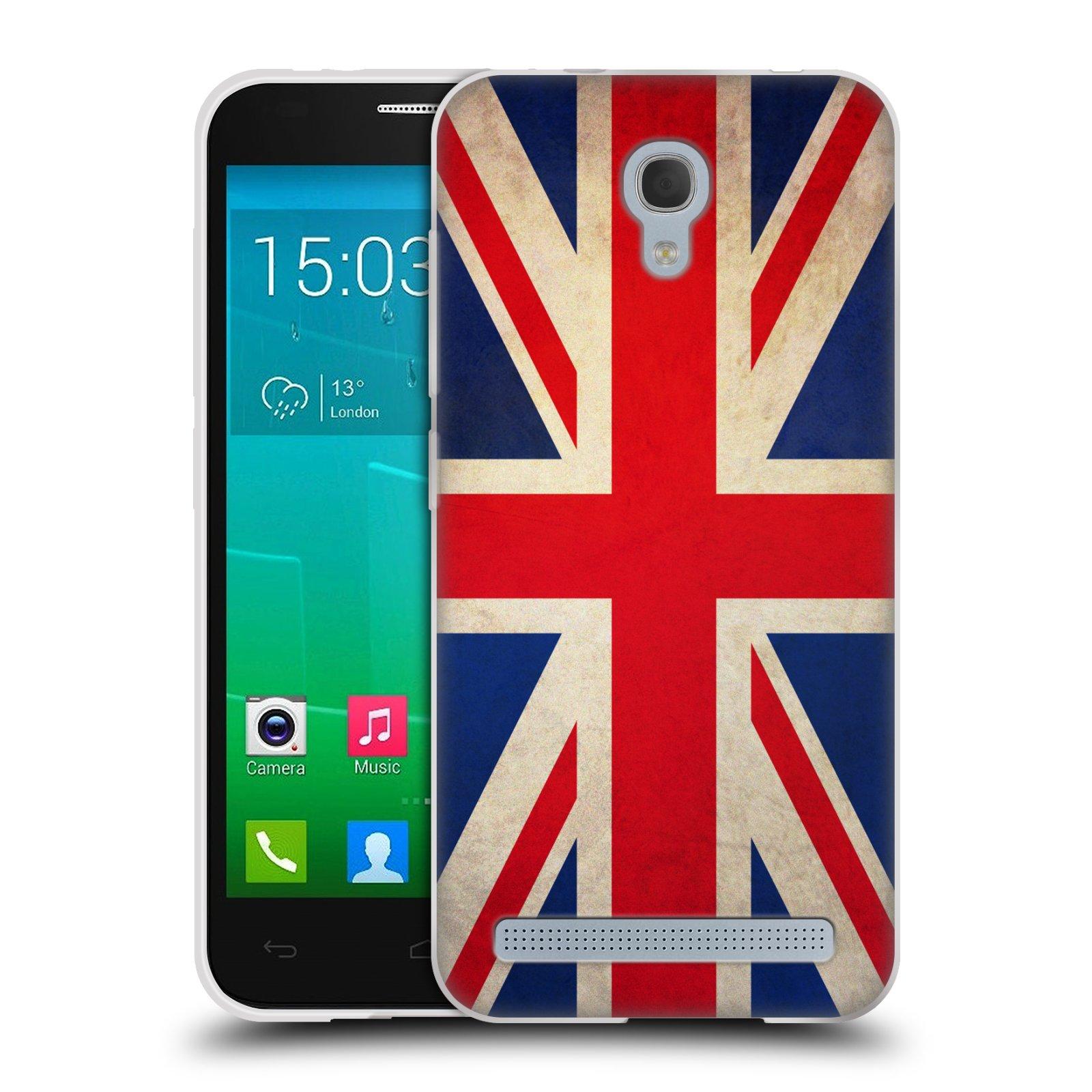 HEAD CASE silikonový obal na mobil Alcatel Idol 2 MINI S 6036Y vzor VINTAGE VLAJKY VELKÁ BRITÁNIE