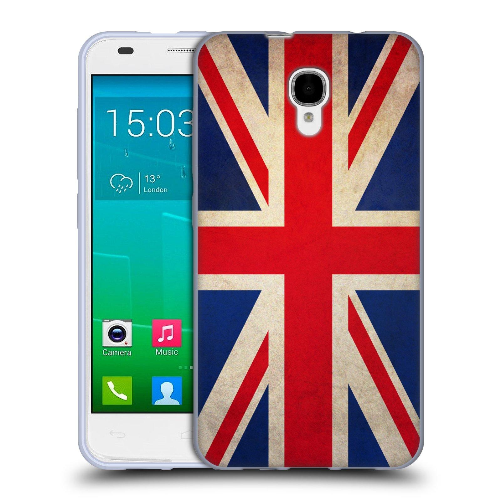 HEAD CASE silikonový obal na mobil Alcatel Idol 2 S OT-6050 vzor VINTAGE VLAJKY VELKÁ BRITÁNIE