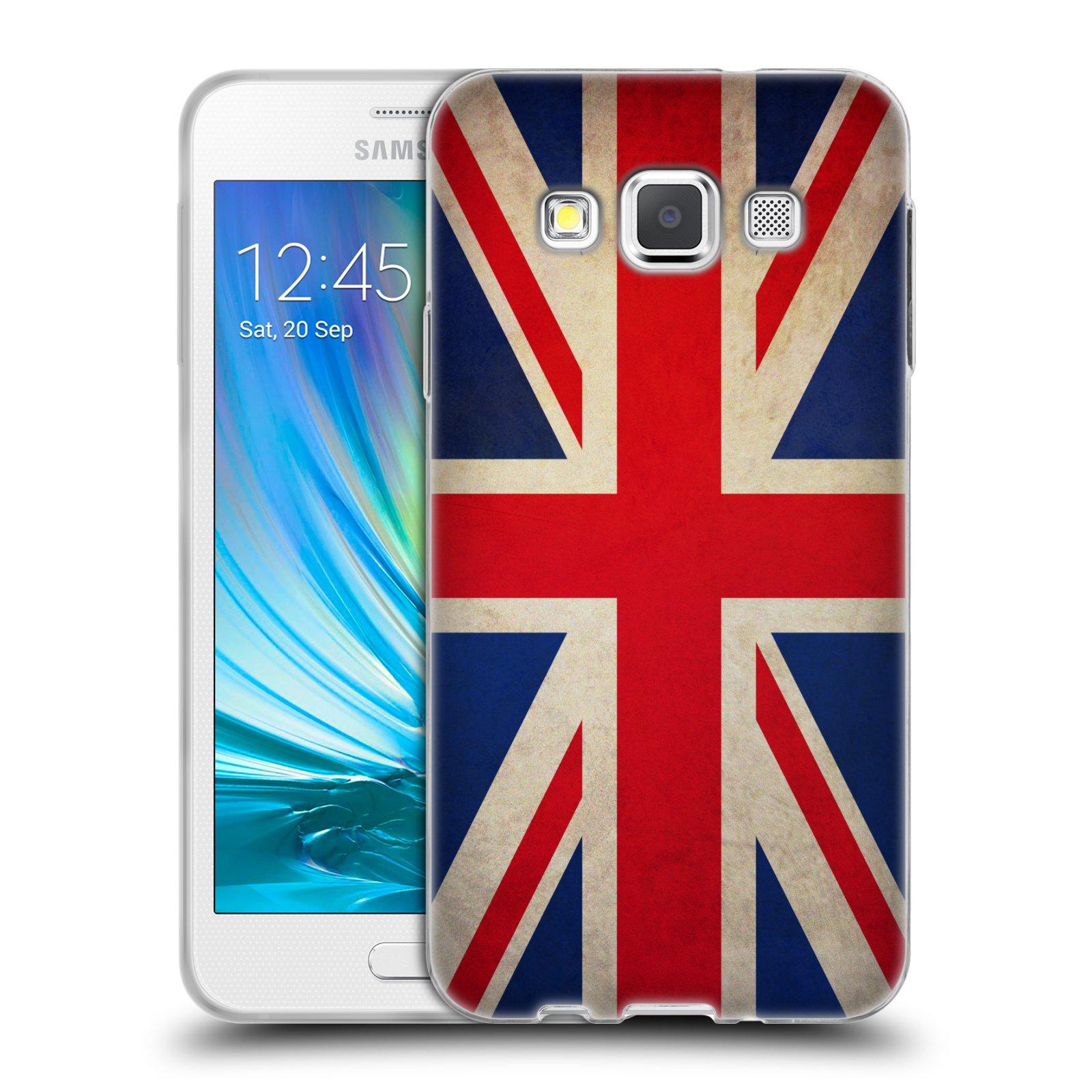 HEAD CASE silikonový obal na mobil Samsung Galaxy A3 vzor VINTAGE VLAJKY VELKÁ BRITÁNIE