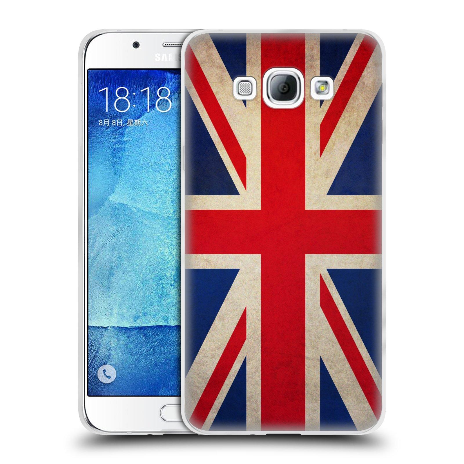 HEAD CASE silikonový obal na mobil Samsung Galaxy A8 vzor VINTAGE VLAJKY VELKÁ BRITÁNIE