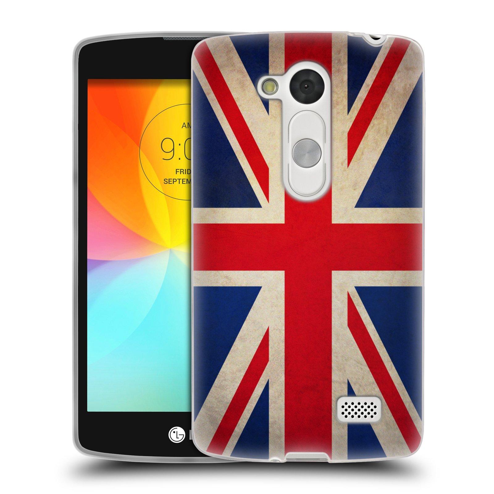 HEAD CASE silikonový obal na mobil LG L Fino D290n / LG L Fino Dual D295 vzor VINTAGE VLAJKY VELKÁ BRITÁNIE