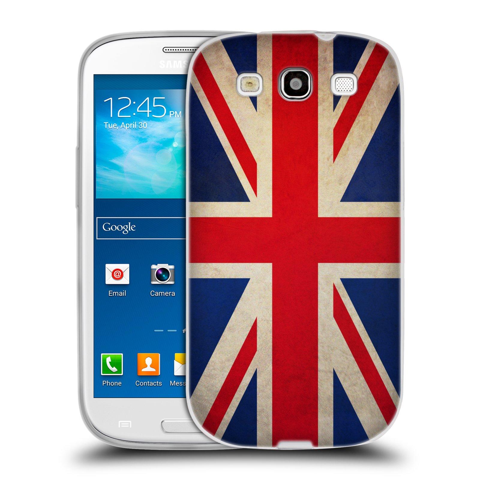 HEAD CASE silikonový obal na mobil Samsung Galaxy S3 i9300 vzor VINTAGE VLAJKY VELKÁ BRITÁNIE