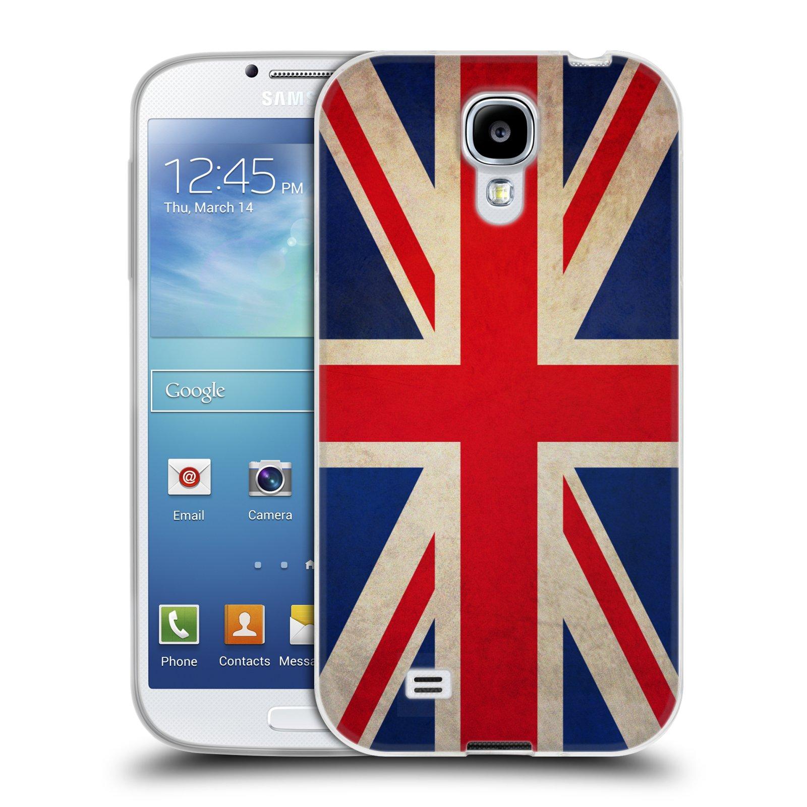HEAD CASE silikonový obal na mobil Samsung Galaxy S4 i9500 vzor VINTAGE VLAJKY VELKÁ BRITÁNIE