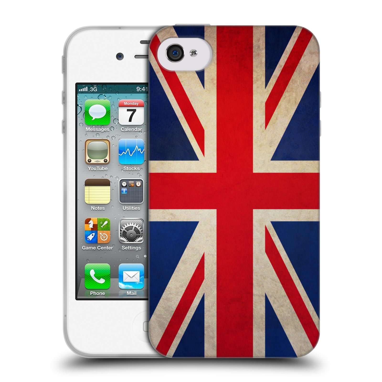 HEAD CASE silikonový obal na mobil Apple Iphone 4/4S vzor VINTAGE VLAJKY VELKÁ BRITÁNIE