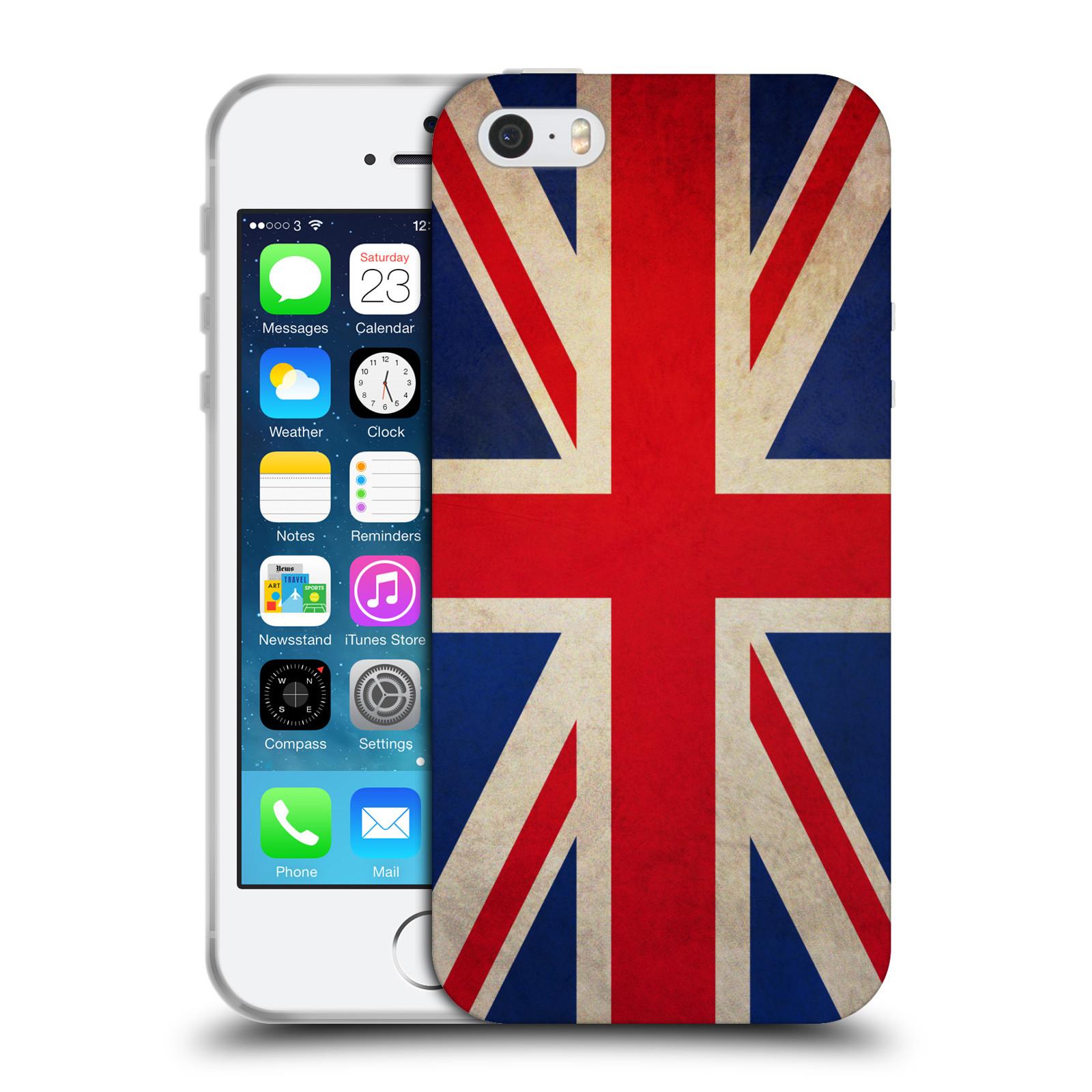 HEAD CASE silikonový obal na mobil Apple Iphone 5/5S vzor VINTAGE VLAJKY VELKÁ BRITÁNIE