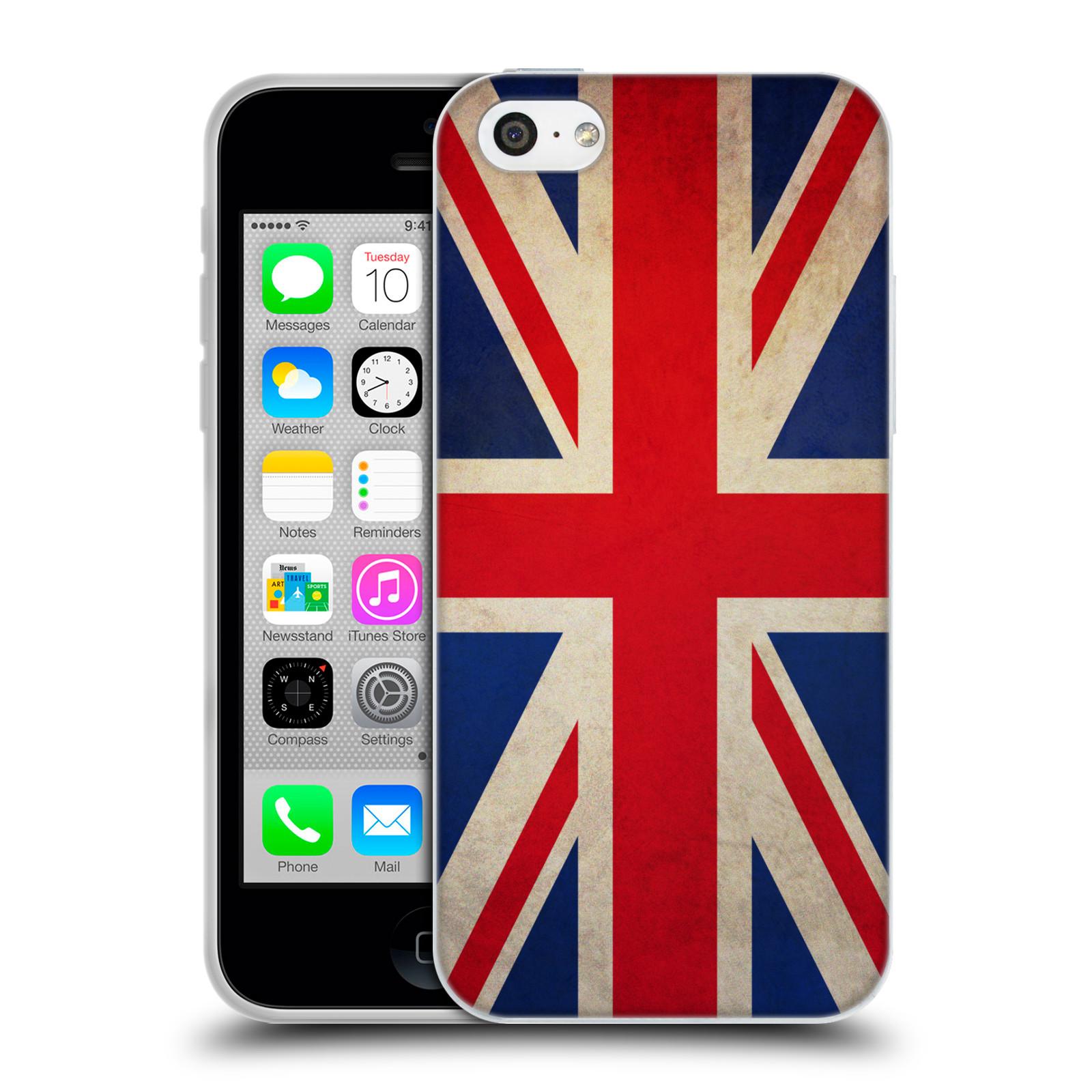 HEAD CASE silikonový obal na mobil Apple Iphone 5C vzor VINTAGE VLAJKY VELKÁ BRITÁNIE