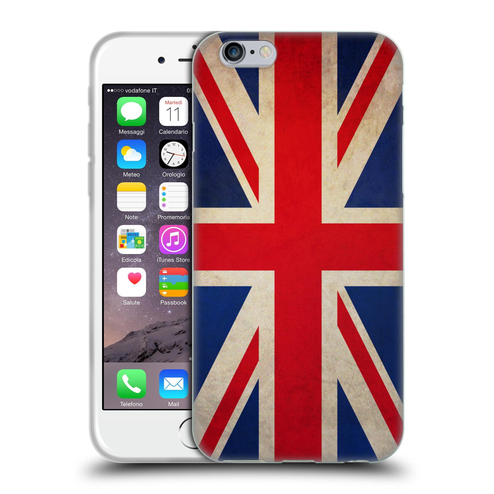 HEAD CASE silikonový obal na mobil Apple Iphone 6/6S vzor VINTAGE VLAJKY VELKÁ BRITÁNIE