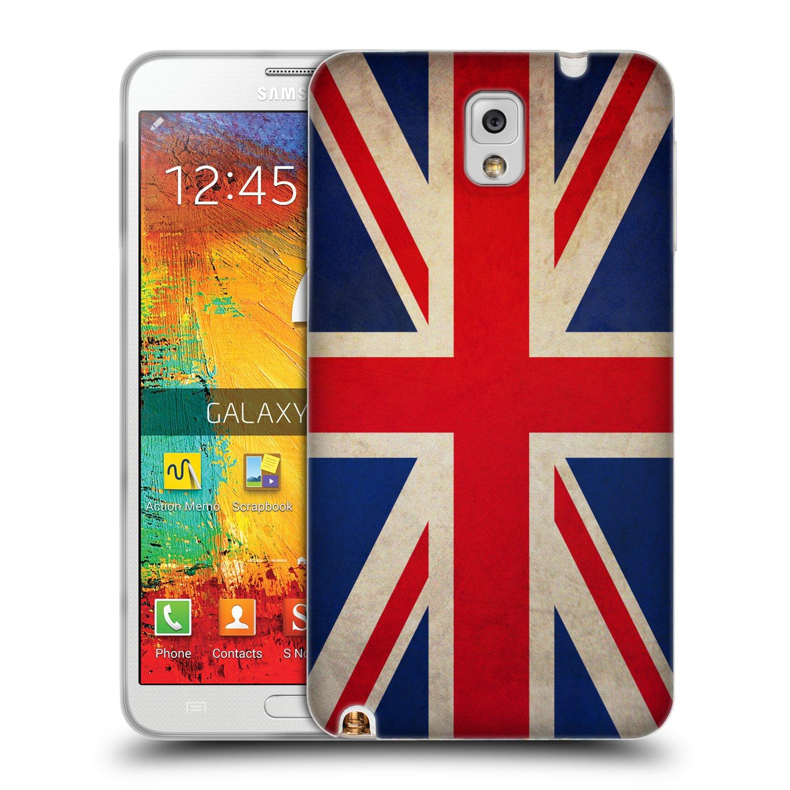 HEAD CASE silikonový obal na mobil Samsung Galaxy Note 3 (N9005) vzor VINTAGE VLAJKY VELKÁ BRITÁNIE