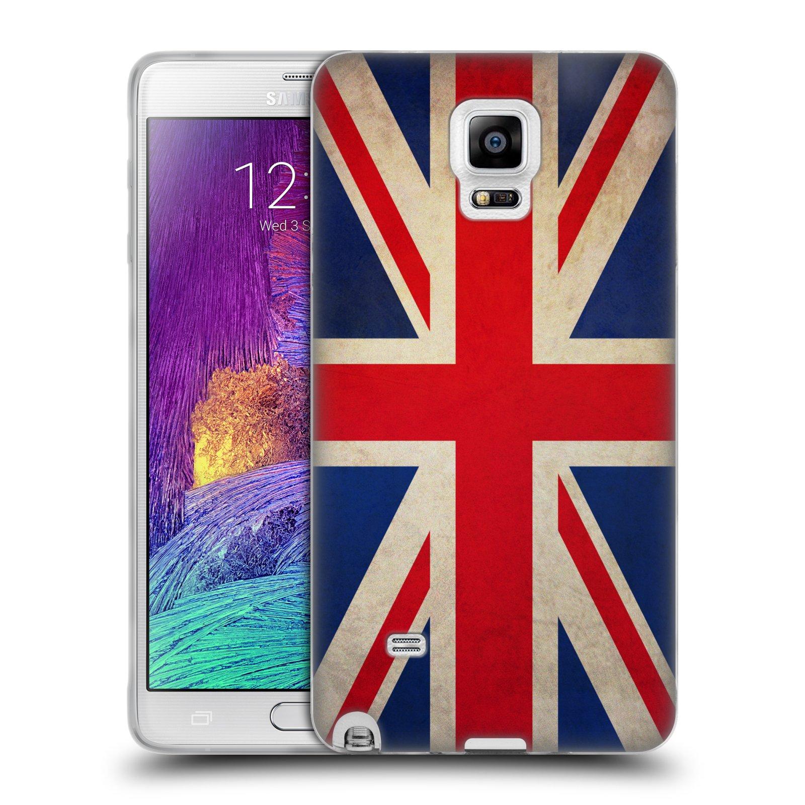 HEAD CASE silikonový obal na mobil Samsung Galaxy Note 4 (N910) vzor VINTAGE VLAJKY VELKÁ BRITÁNIE