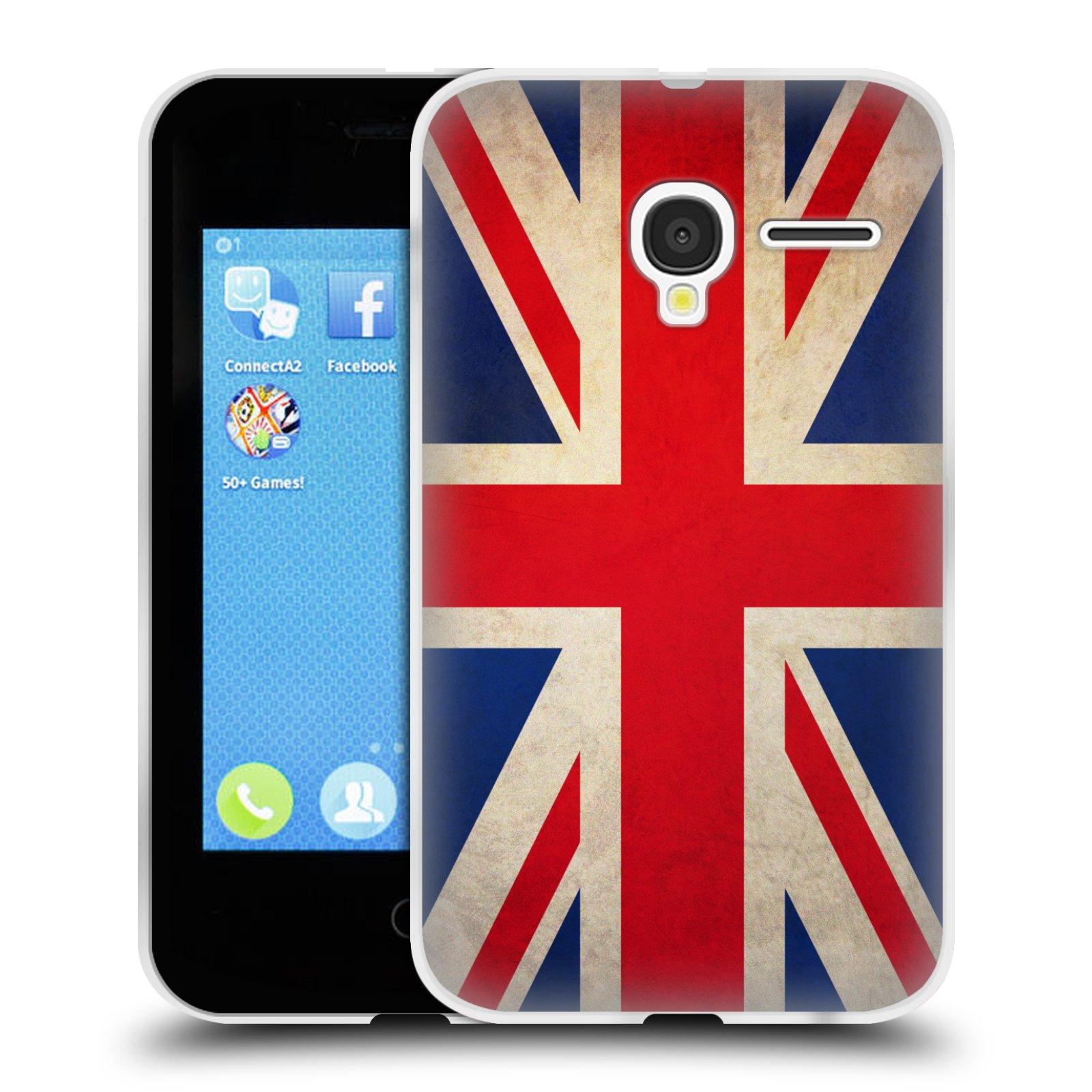 HEAD CASE silikonový obal na mobil Alcatel PIXI 3 OT-4022D (3,5 palcový displej) vzor VINTAGE VLAJKY VELKÁ BRITÁNIE