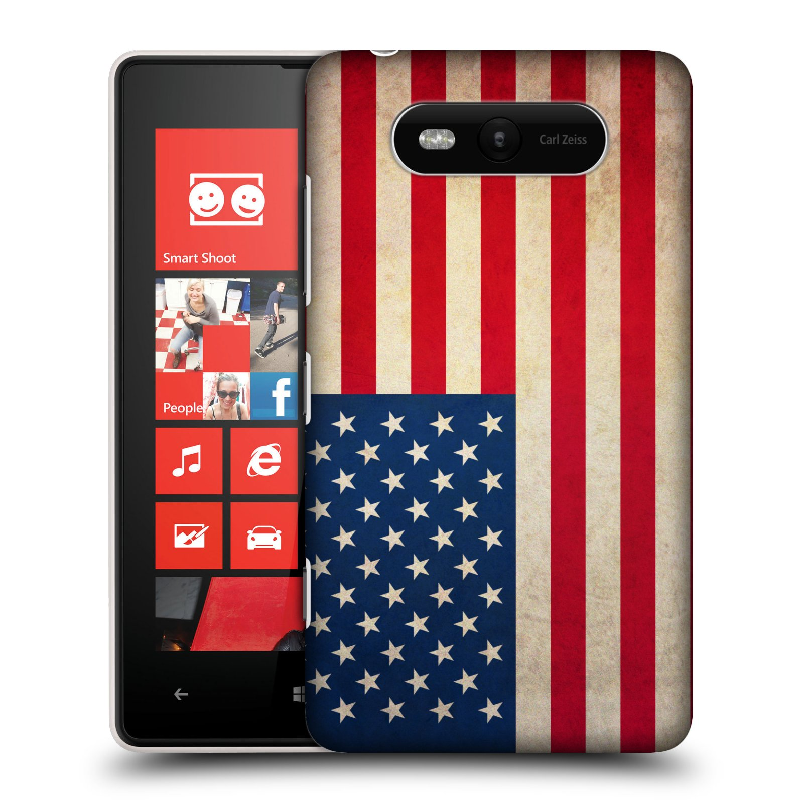 Plastové pouzdro na mobil Nokia Lumia 820 HEAD CASE VLAJKA USA (Kryt či obal na mobilní telefon Nokia Lumia 820)