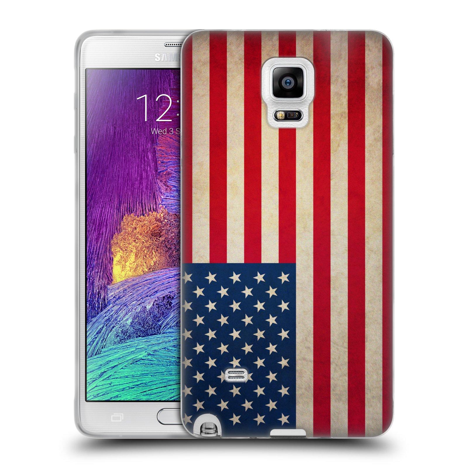 HEAD CASE silikonový obal na mobil Samsung Galaxy Note 4 (N910) vzor VINTAGE VLAJKY SPOJENÉ STÁTY USA
